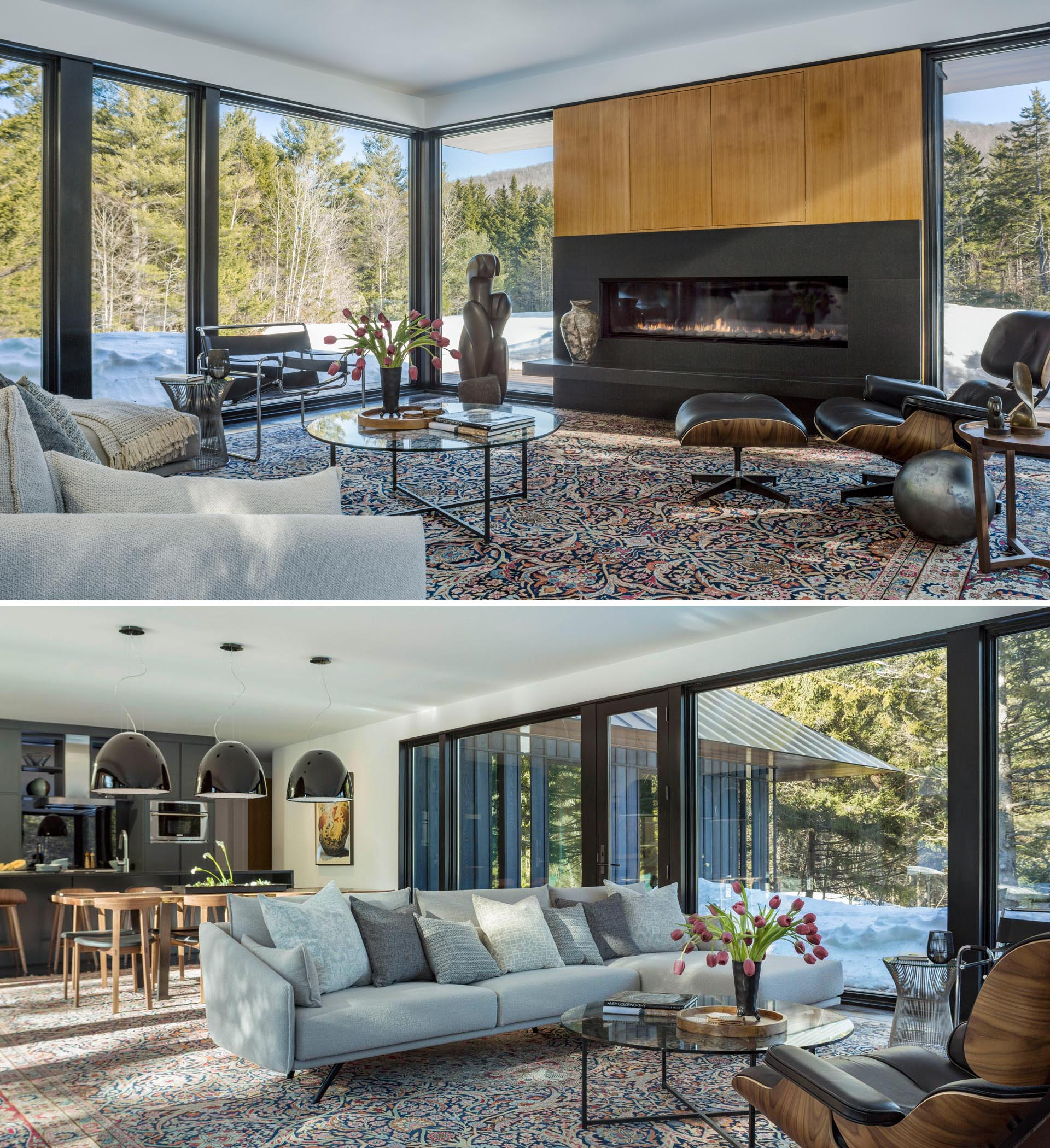 In this modern living room, floor-to-ceiling windows provide ample views of the surrounding meadow and forest, while the large linear fireplace creates a focal point in the room.