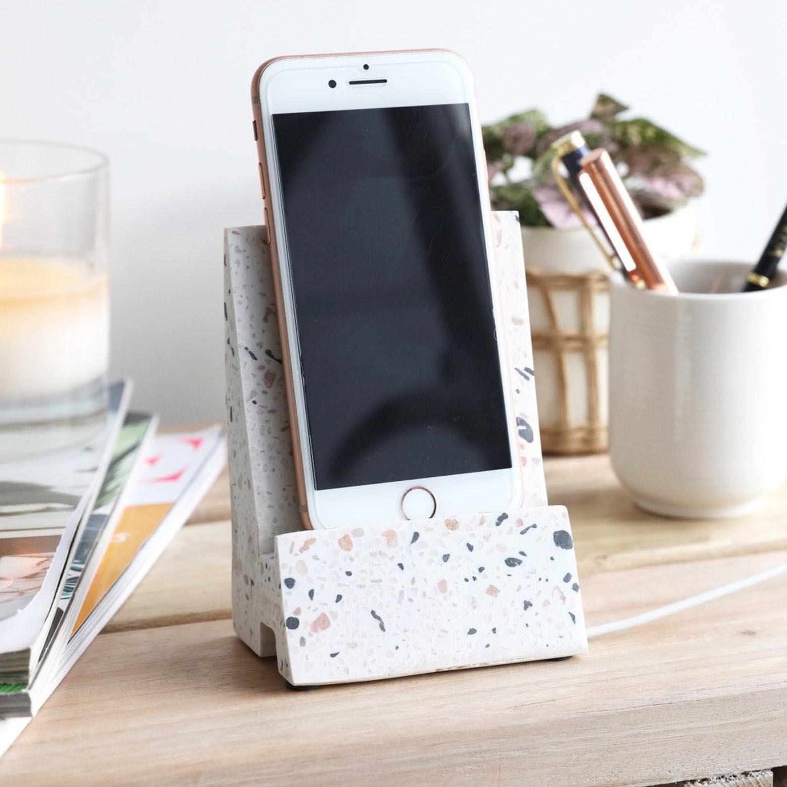 Gift Idea - White Terrazzo Phone Stand