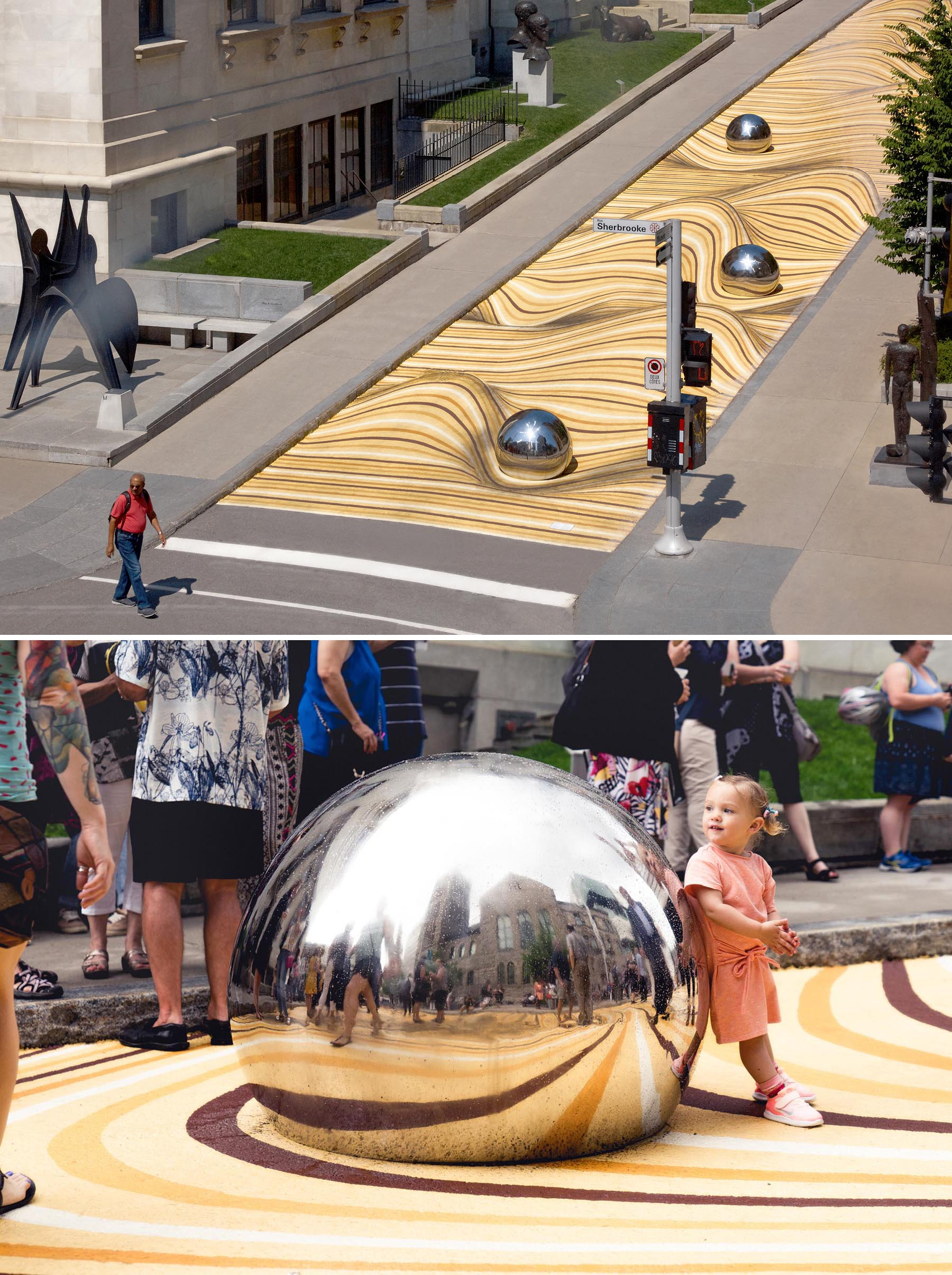 A public mural in Montreal that manipulates the street surface, creates the illusion of large ripples, and has large balls that reflect its surroundings.