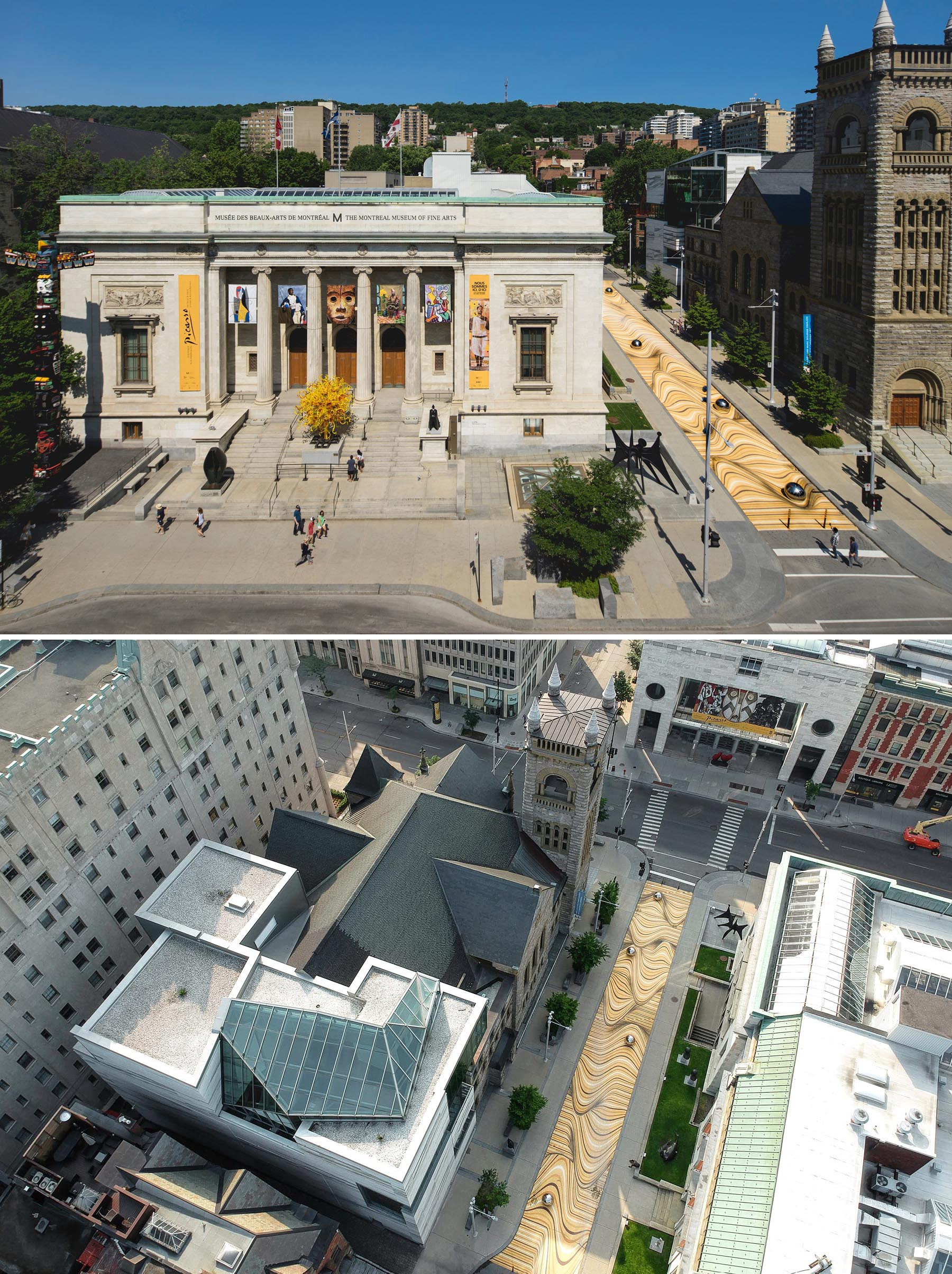 A large scale public mural in Montreal that manipulates the street surface and creates the illusion of large ripples.