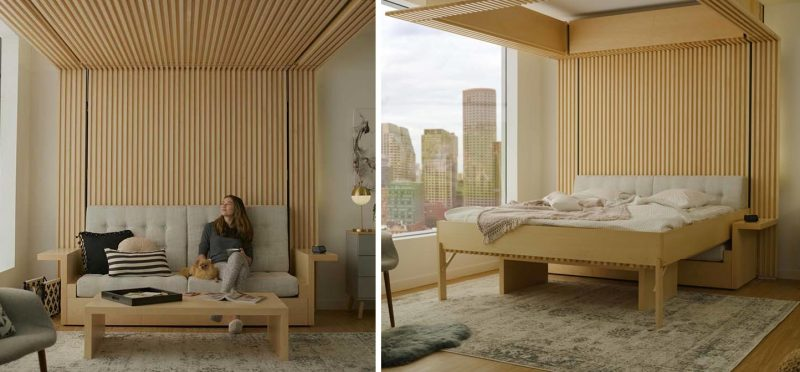 A bed that drops down from the ceiling.