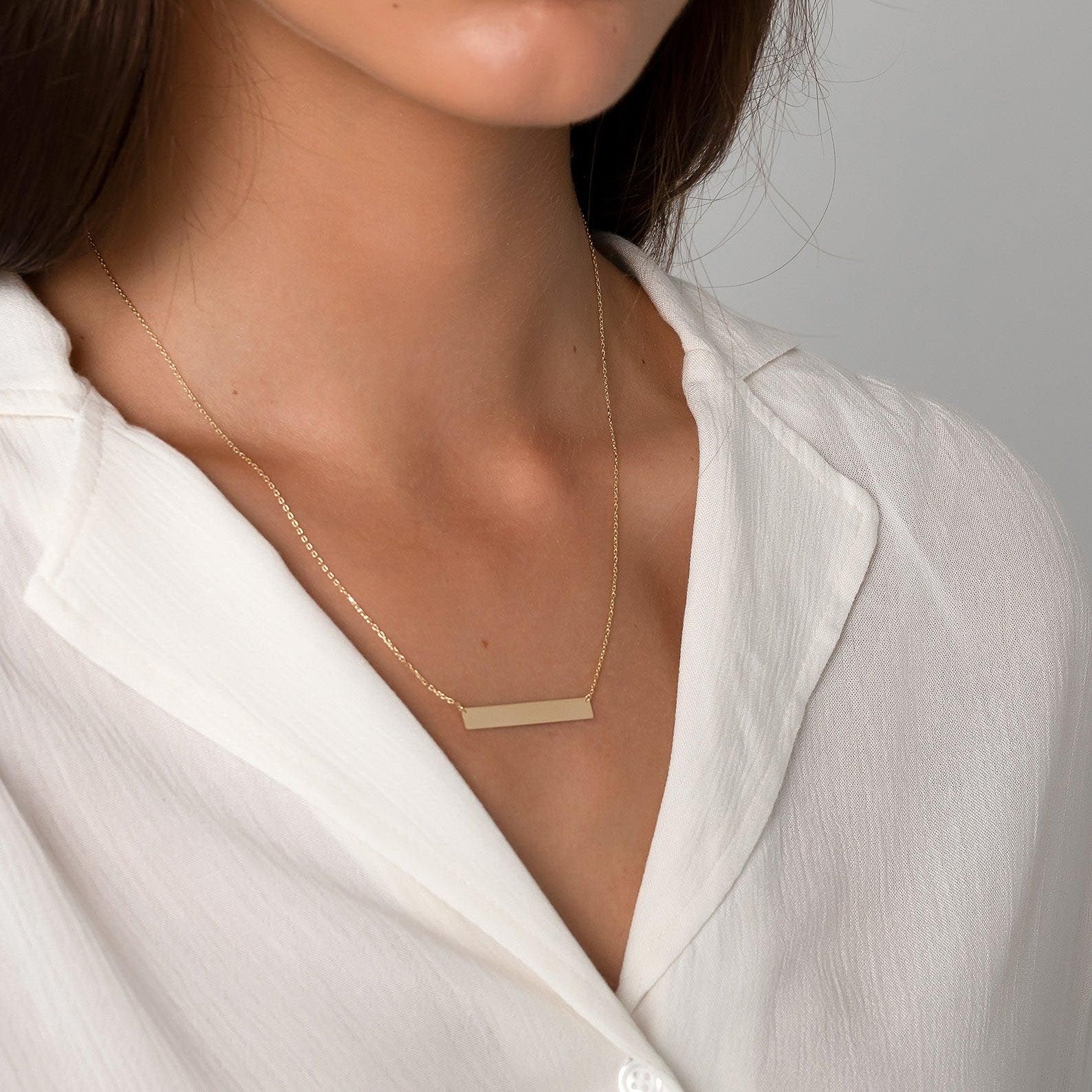 Gift Idea - 14K Solid Gold Bar Necklace