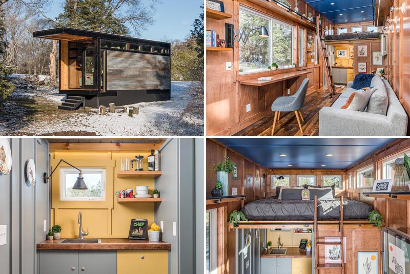 A tiny house with cedar and corrugated metal siding, a fold-out desk, a loft bedroom, and a colorful kitchen.