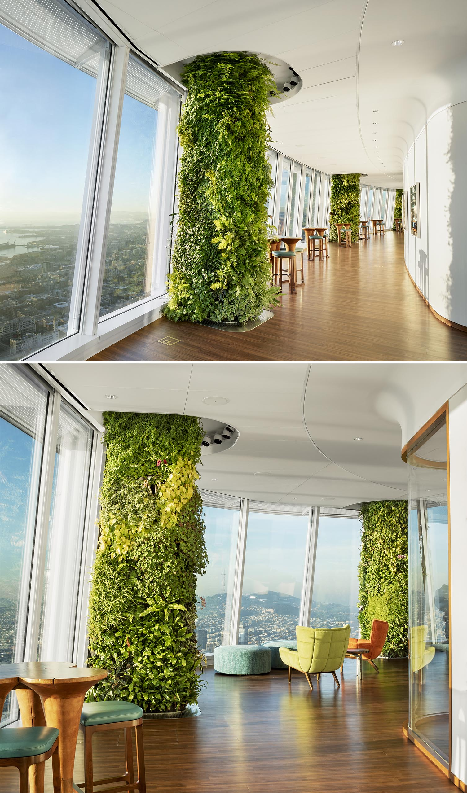 13 foot high vertical gardens have  been used to hide building columns and add a natural element to an office building.
