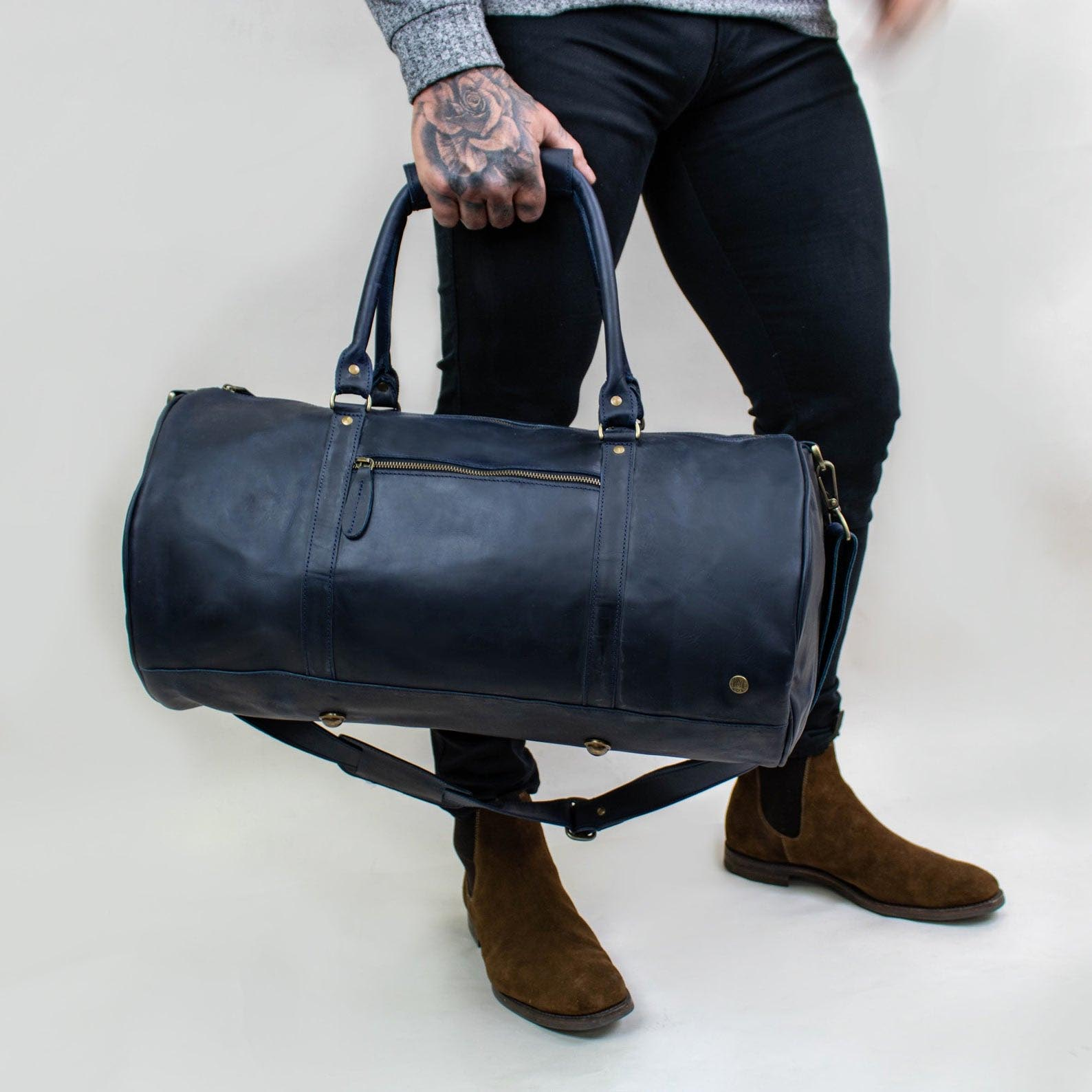 Gift Idea - Black Leather Weekend Bag