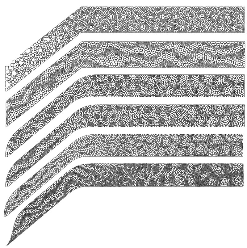 The patterns that were used to create an artistic laser cut staircase railing with a matte black finish.
