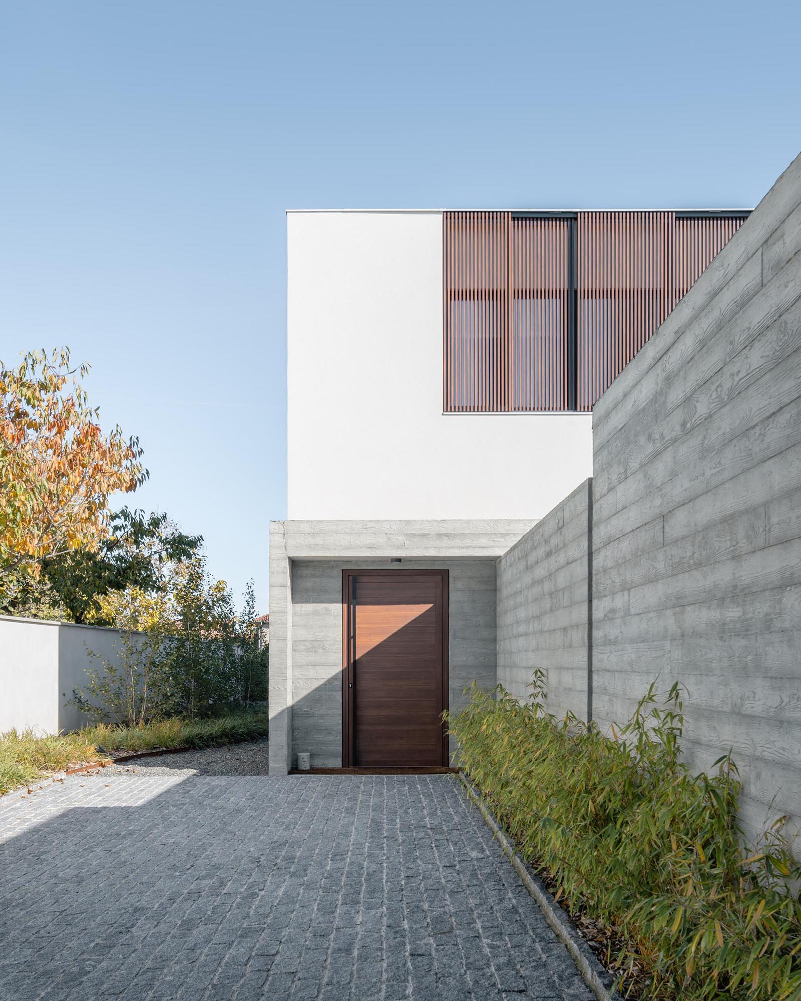 A small driveway with a concrete wall and plants, and a wood front door.