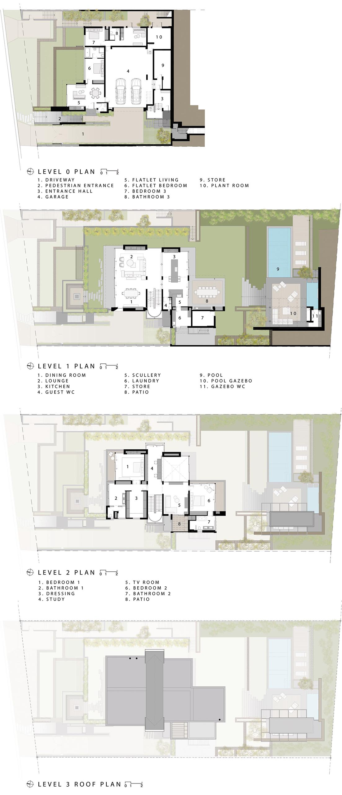 The floor plan of a modern multi-story home with landscaped yard.