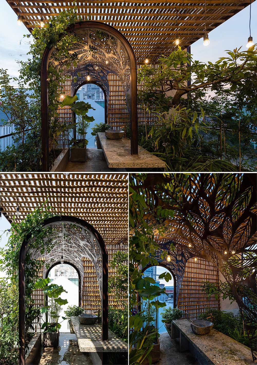 At the top of a modern house there's an outdoor space with an arched arbor, with plants that complement the leaf motif.