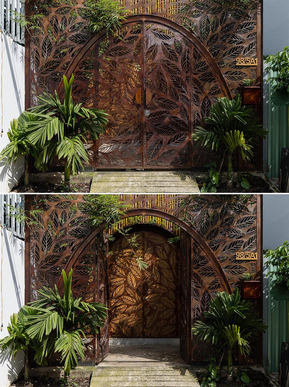 Arched metal doors with a leaf motif greets visitors to this modern house.