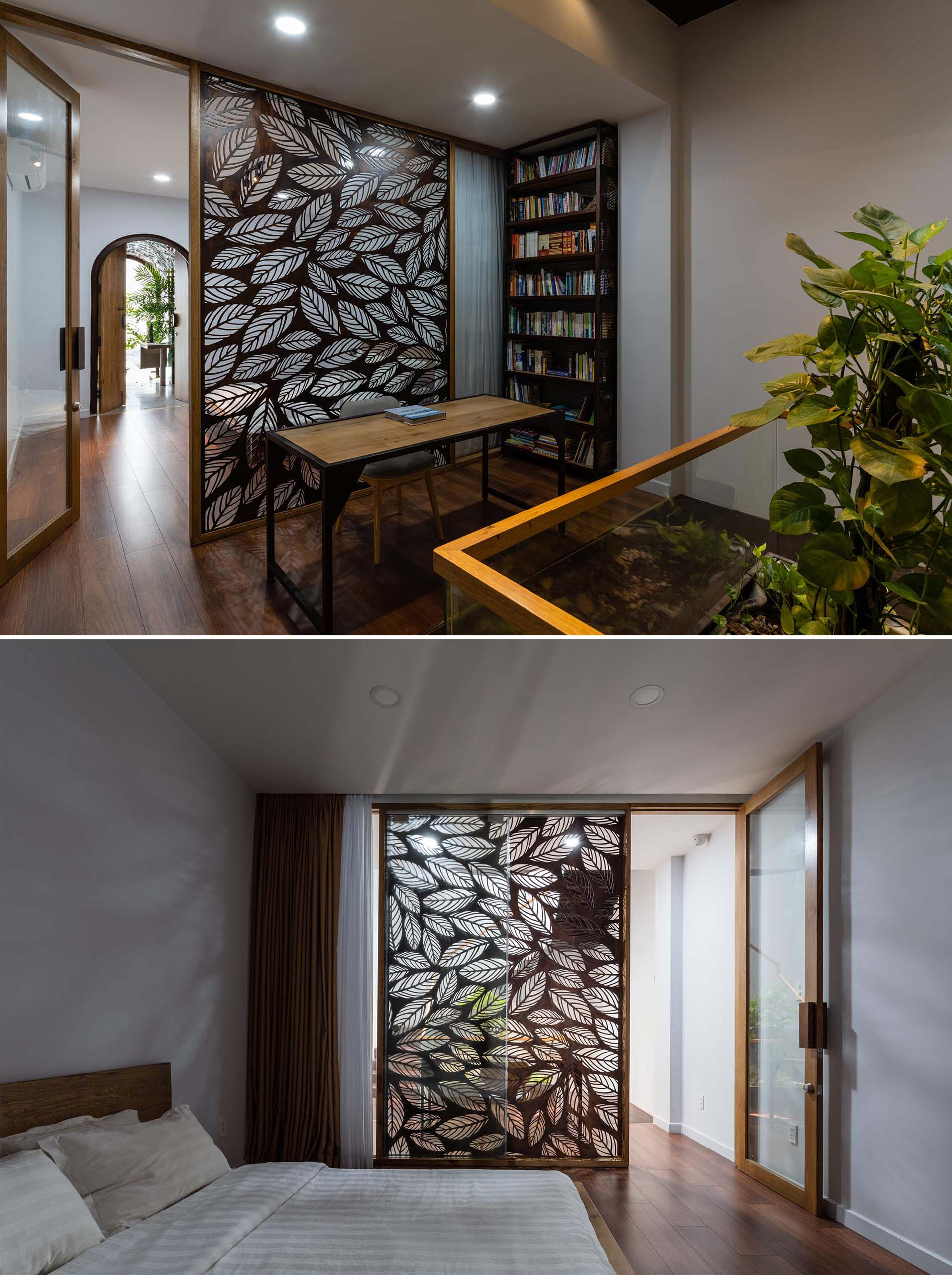 In this modern home, a small home office has been set up off the hallway, with the wall of the bedroom acting as a decorative leaf motif accent wall.