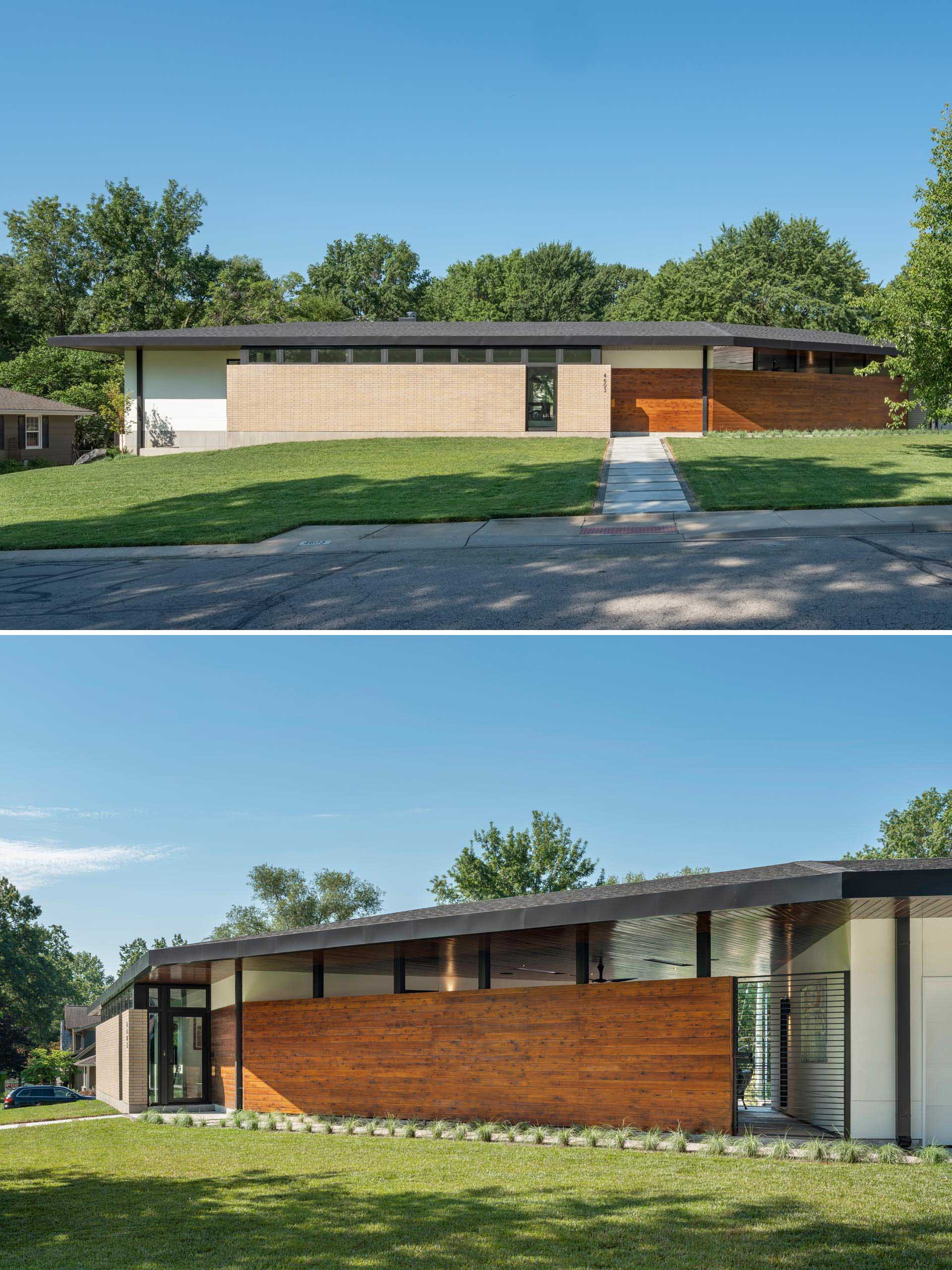The exterior of a mid-century modern inspired house features materials like light buff brick, white stucco, and exposed concrete, all of which are accented by stained cedar.