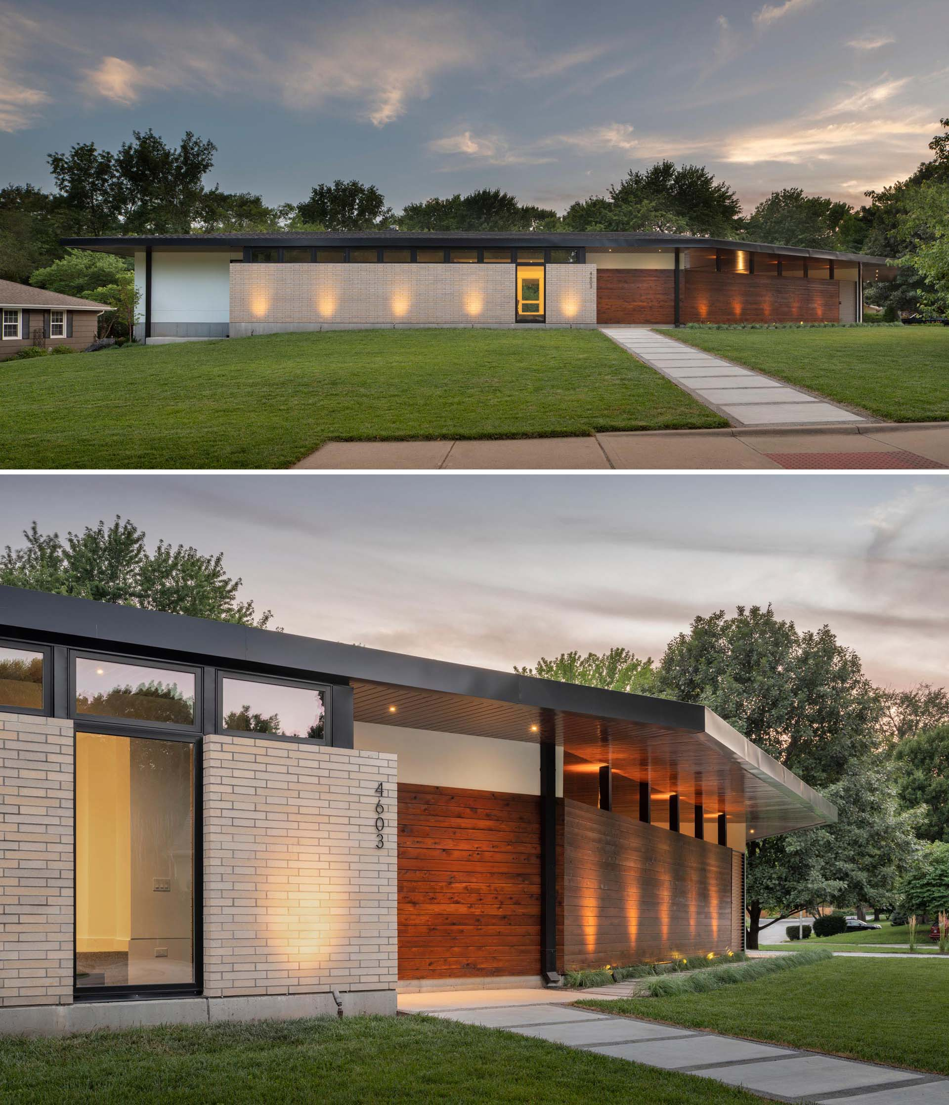The exterior of a mid-century modern inspired house features materials like light buff brick, white stucco, and exposed concrete, all of which are accented by stained cedar, and highlighted by accent lighting at night.