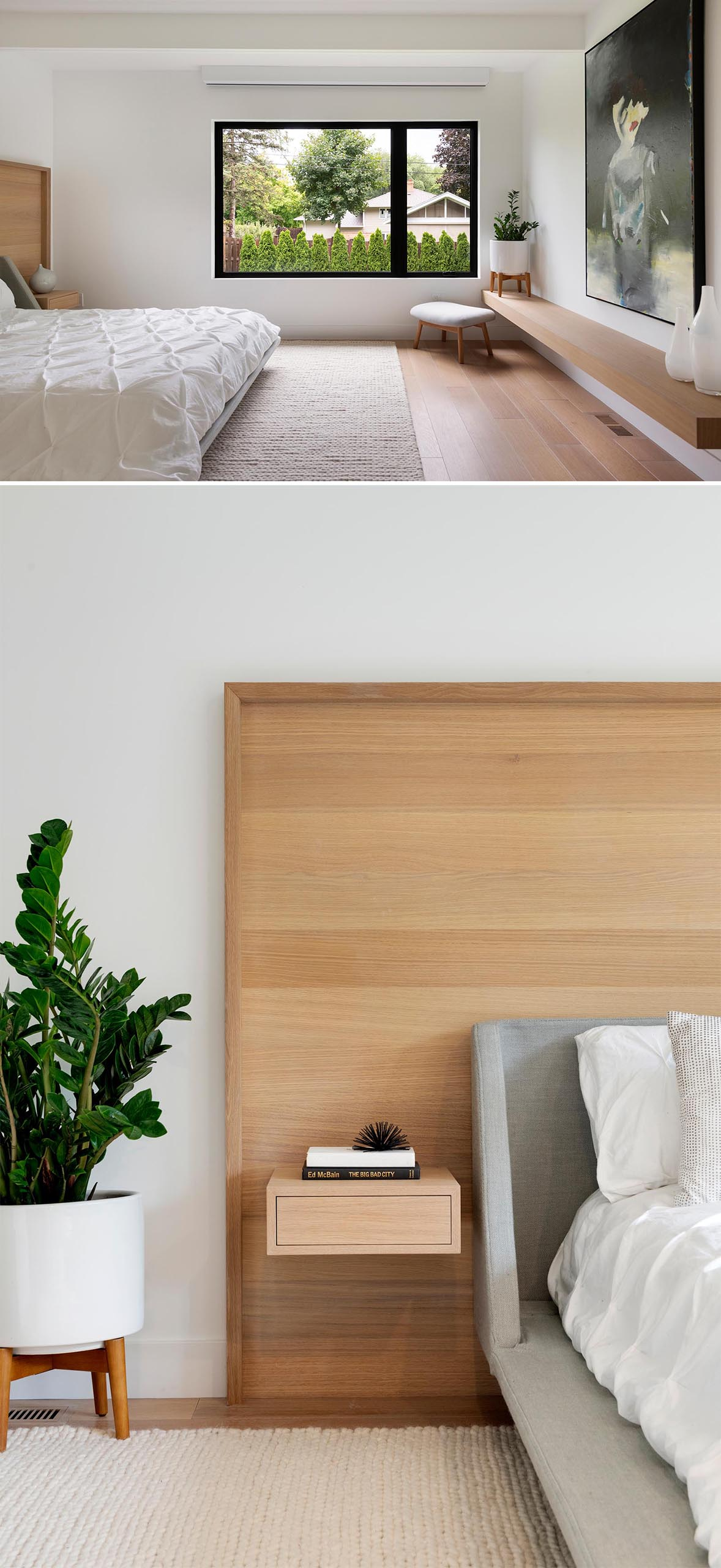 A modern bedroom with wood headboard and built-in side tables adds a natural element and complements the floating wood shelf on the opposite wall.