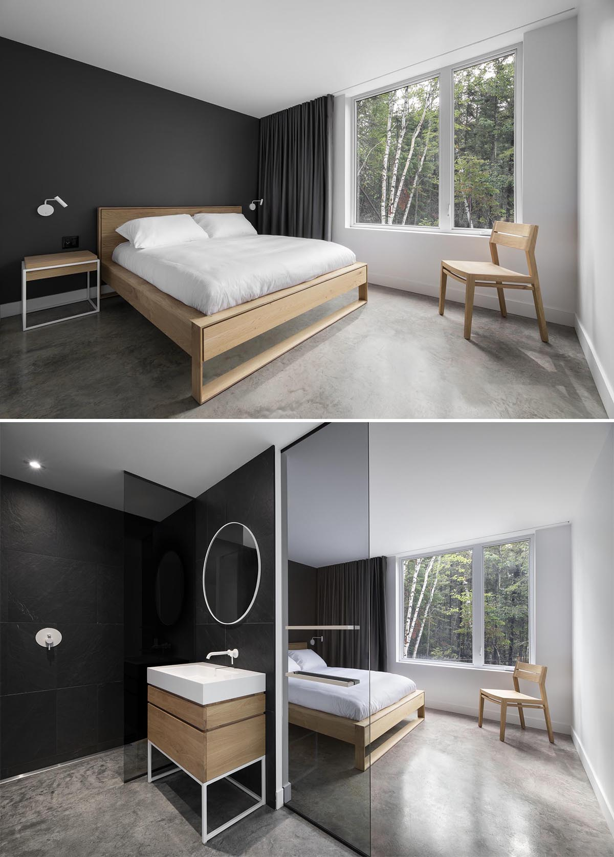 A modern bedroom with a matte black accent wall, and matching black curtains, and a black and white en-suite bathroom.