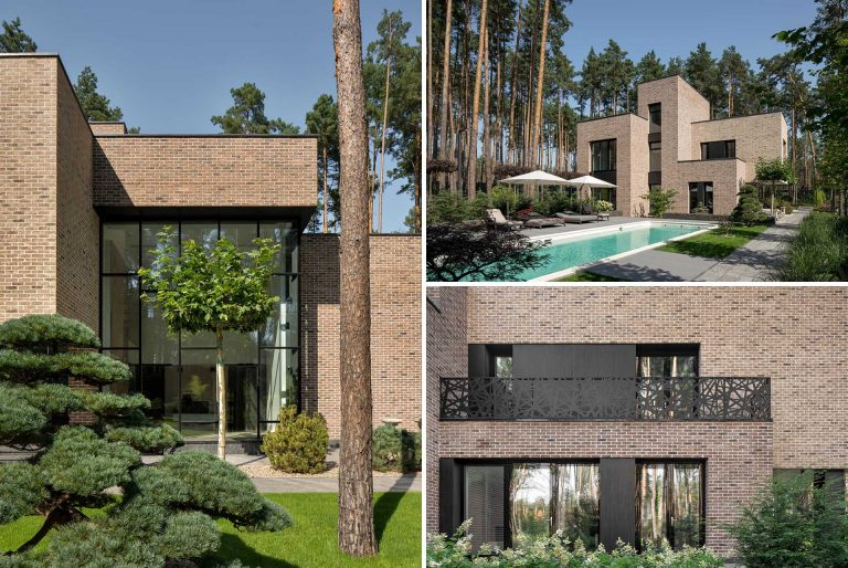The Modern Brick Exterior Of This House Stands Out From The Forest And Landscaped Gardens It's Surrounded By