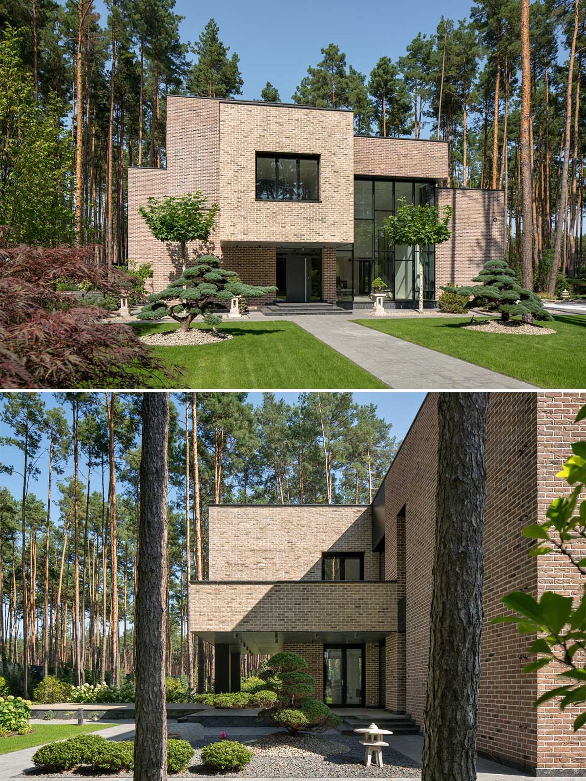Surrounded by forest, the 'BST House', which also has a guest house, features a facade of hand-formed brick.