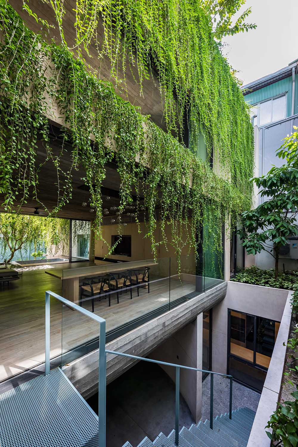 A modern mutli-storey house with overhanging plants.