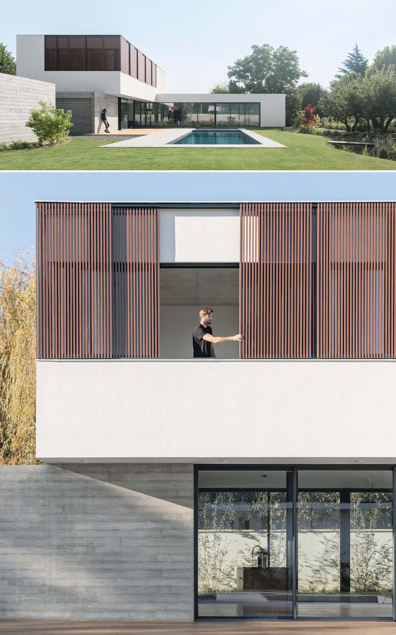 An L-shaped house with wood screens, a terrace, swimming pool, and conversation pit.