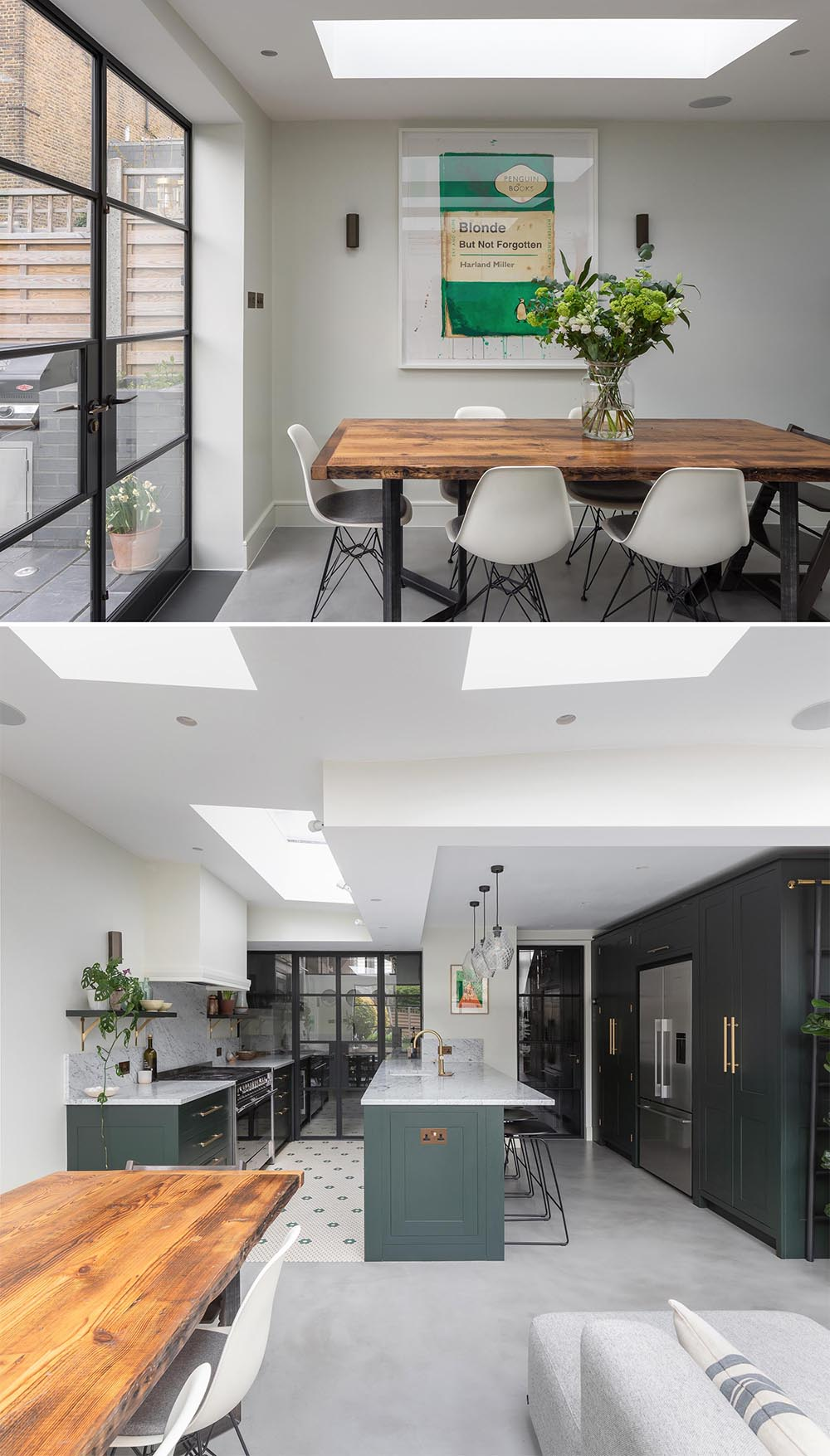 A modern home addition with skylights and a new living room, dining room, and kitchen with walk-in pantry.