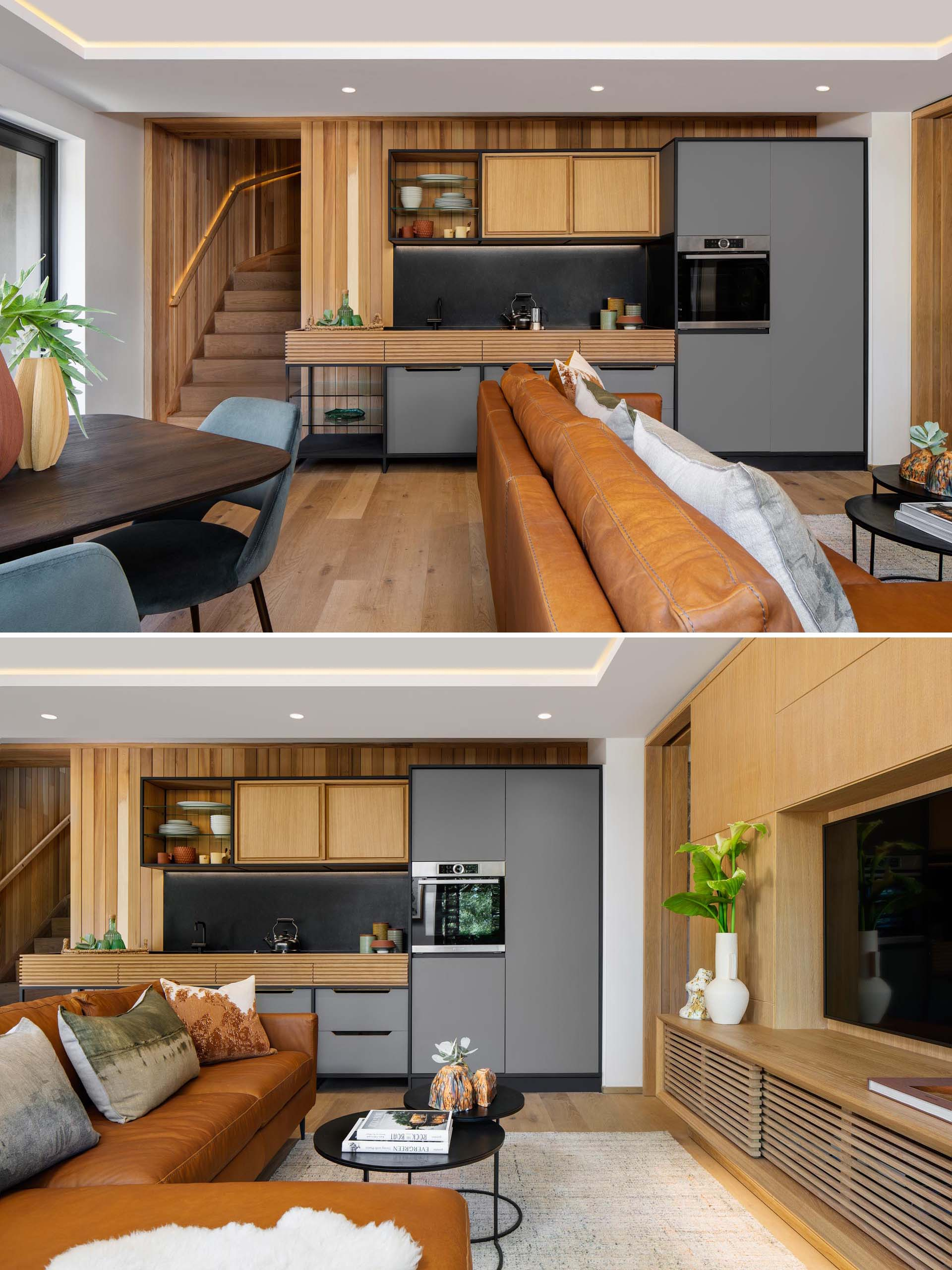 A modern guest suite with a kitchenette, living room, dining area, and separate bedroom with en-suite.