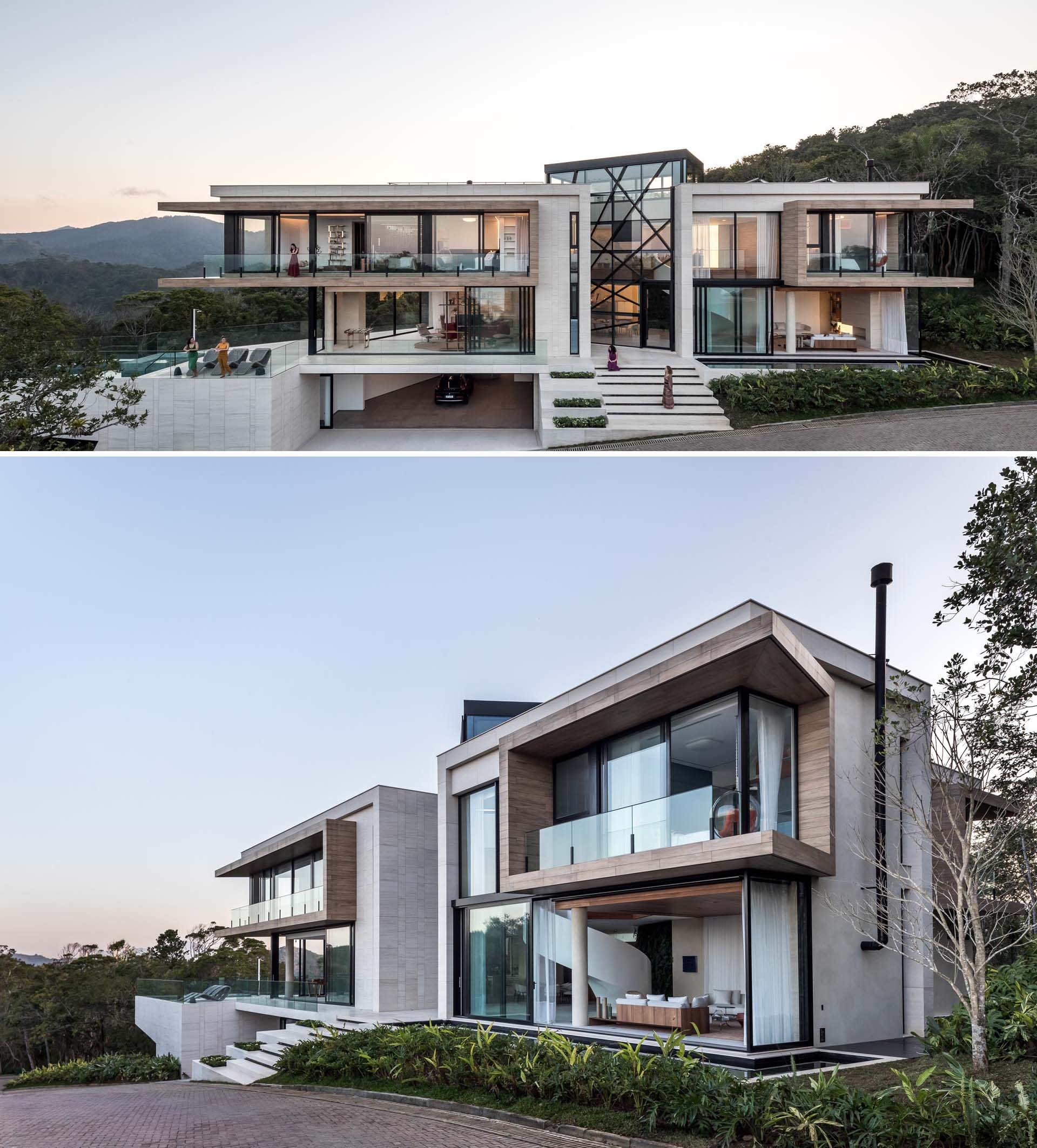 A modern house with multiple levels also has a cantilevered swimming pool.