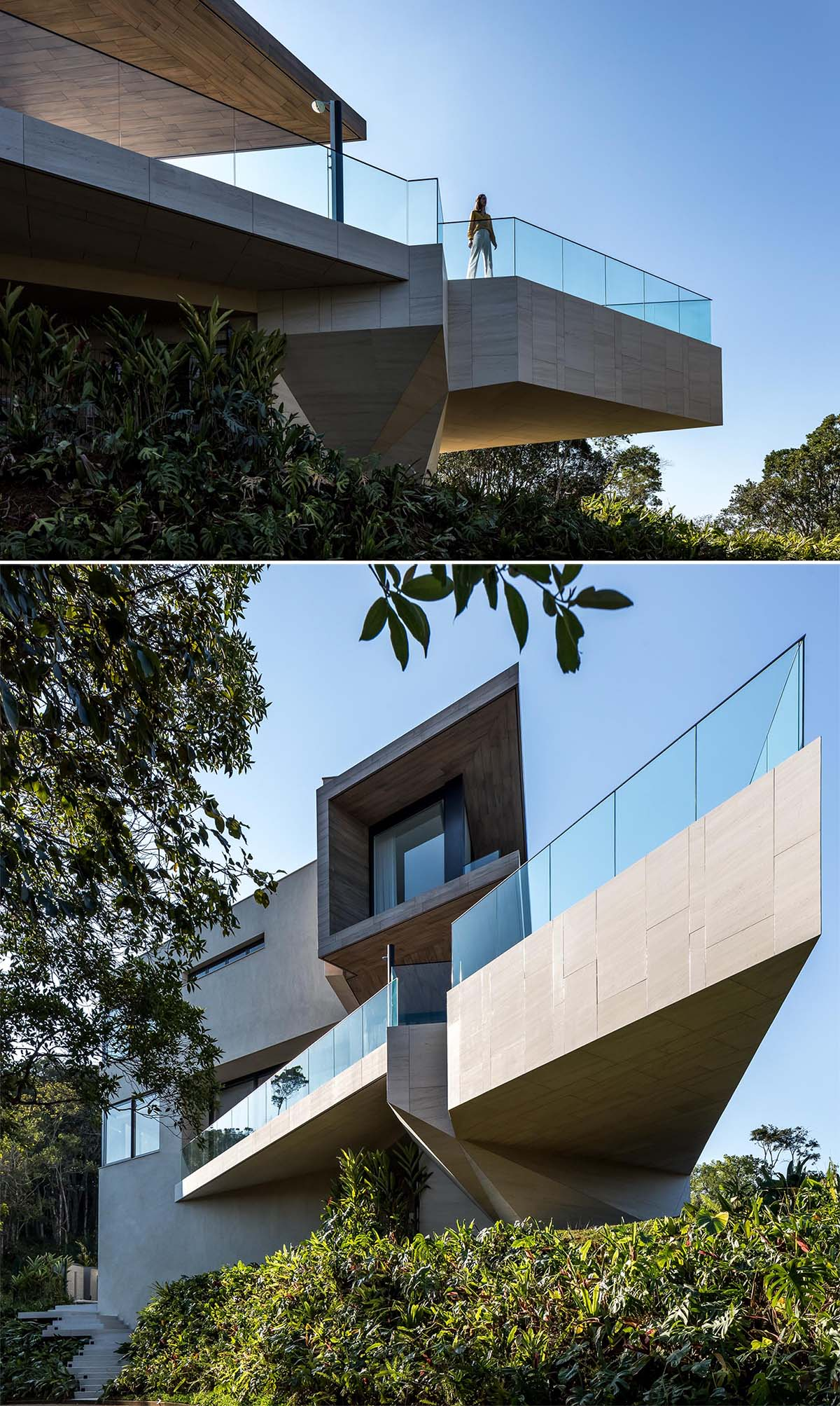 This modern house has a swimming pool, and it's easy to see when looking up at it from below, how cantilevered it is.