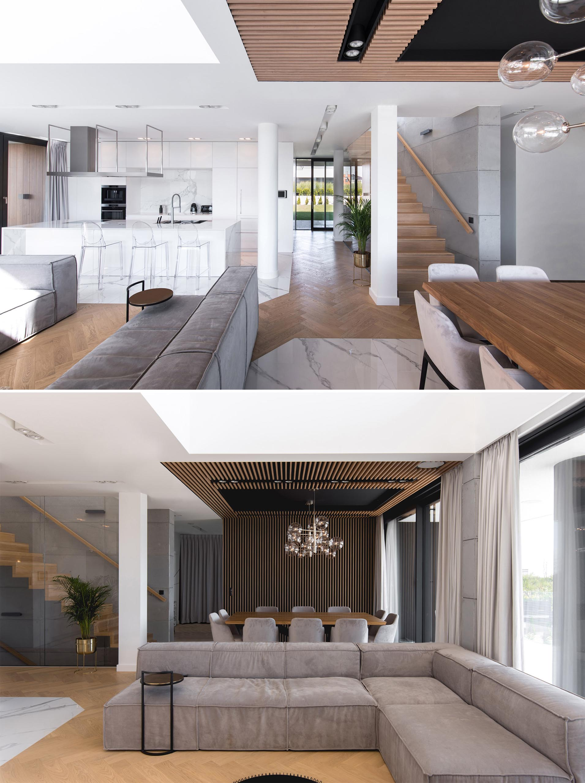 Inside this modern home, the living room and dining room are open plan. A wood slat accent wall in the dining room carries on to the ceiling, helping to define the area.