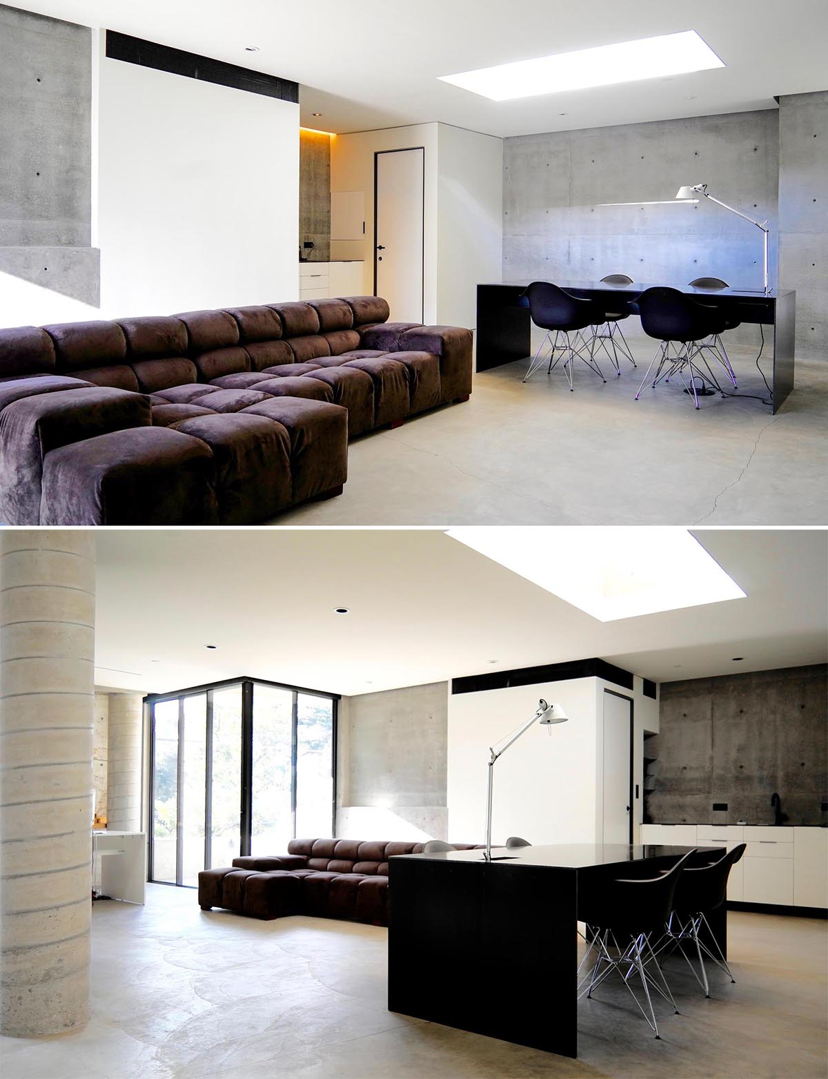 An underground home office with concrete floors and a skylight.