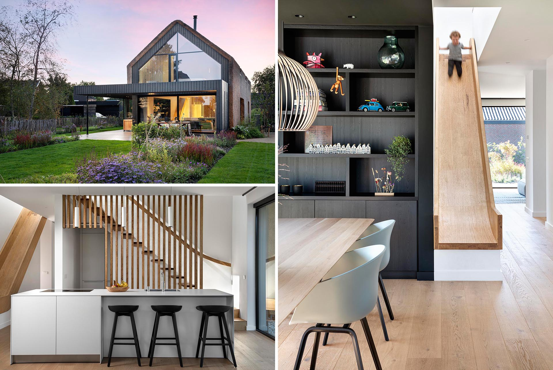 A Thatched Roof And An Indoor Slide Give This Home Plenty Of Unique Character