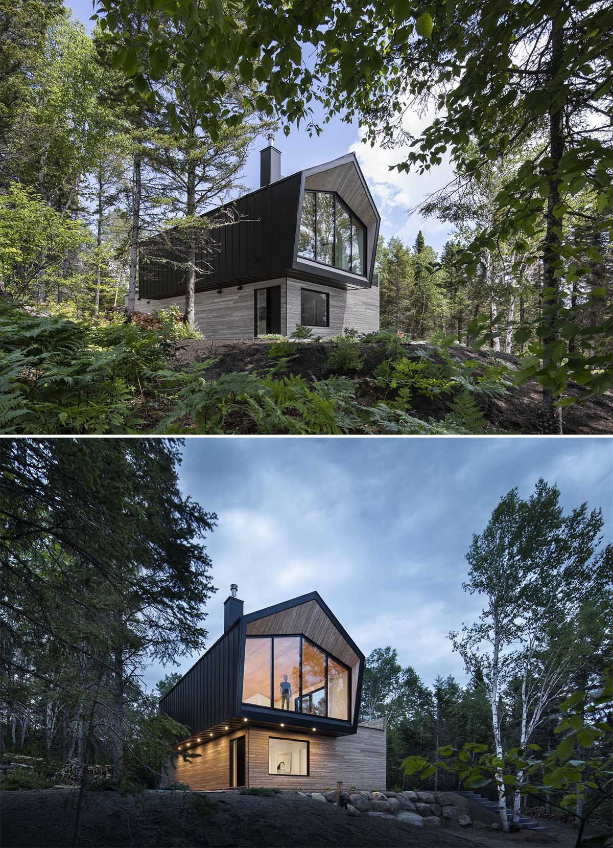 A modern home with a black metal and wood exterior.