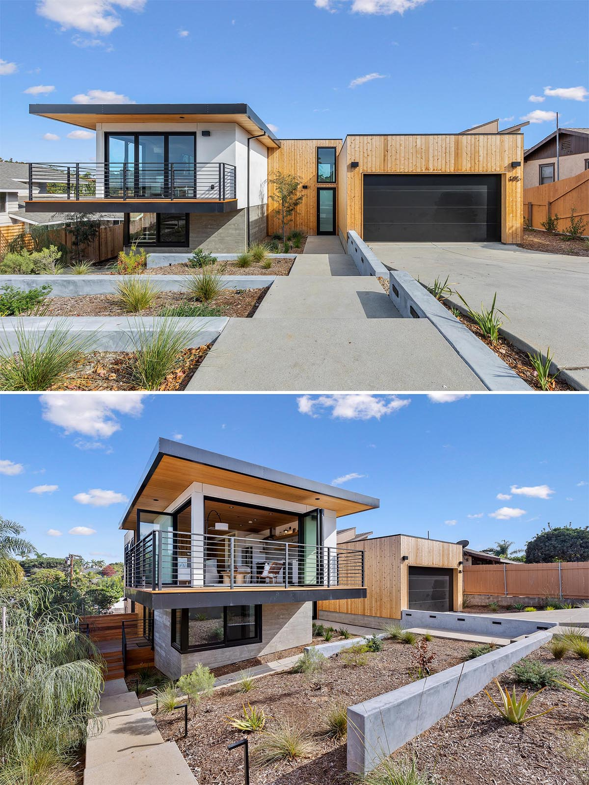 Western red cedar has been used throughout this modern home to connect the interior and exterior spaces.