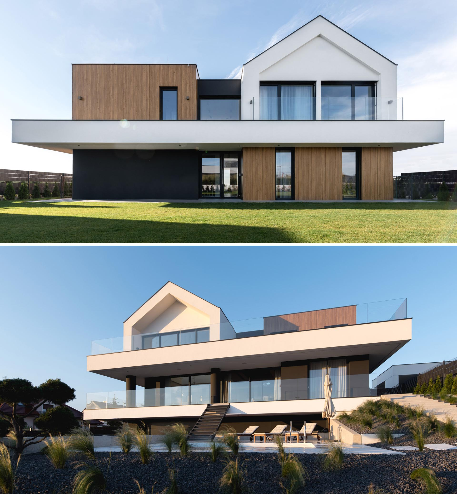 A modern house with a black and white exterior with wood accents.