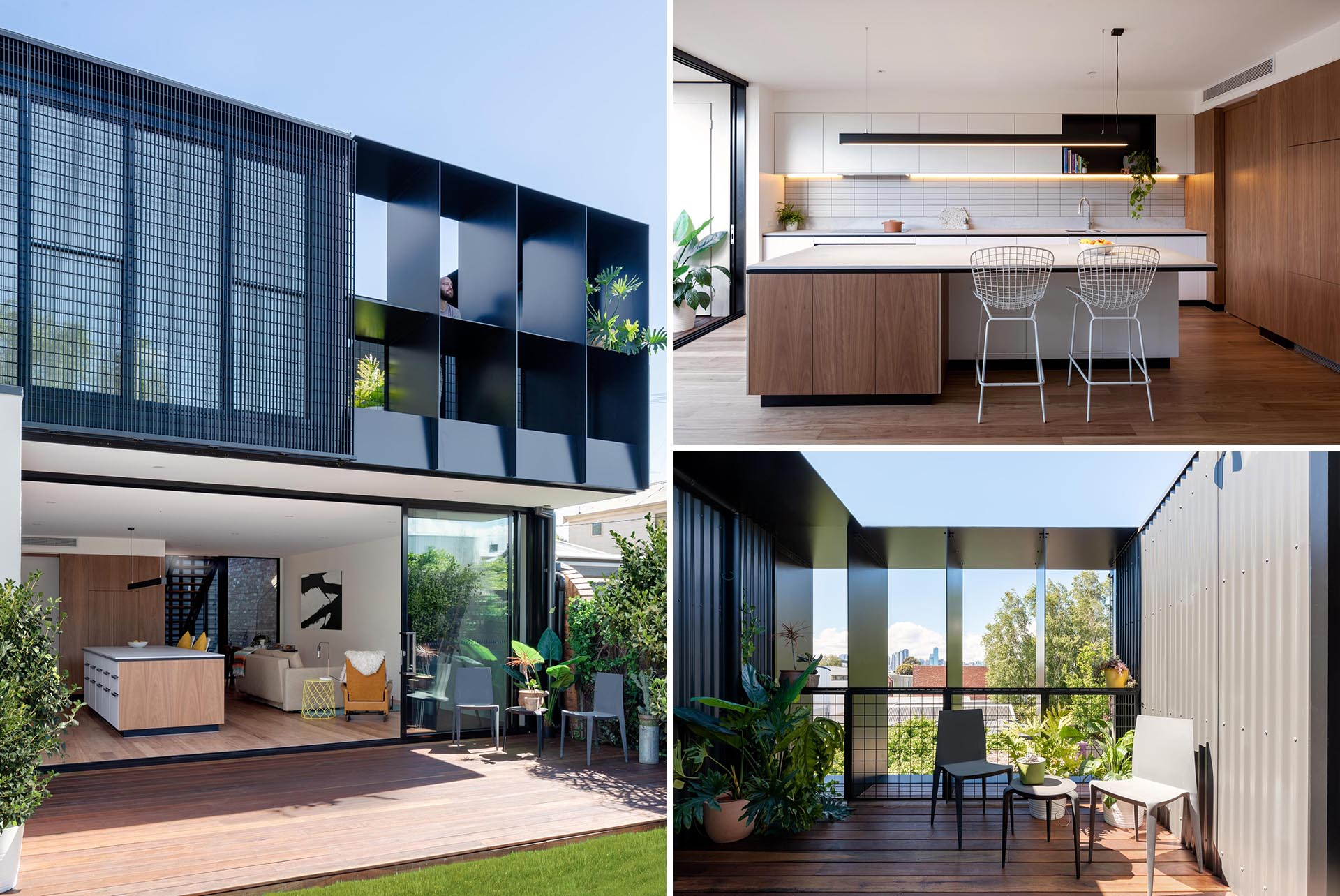 A modern dark gray metal house extension with a modern interior.