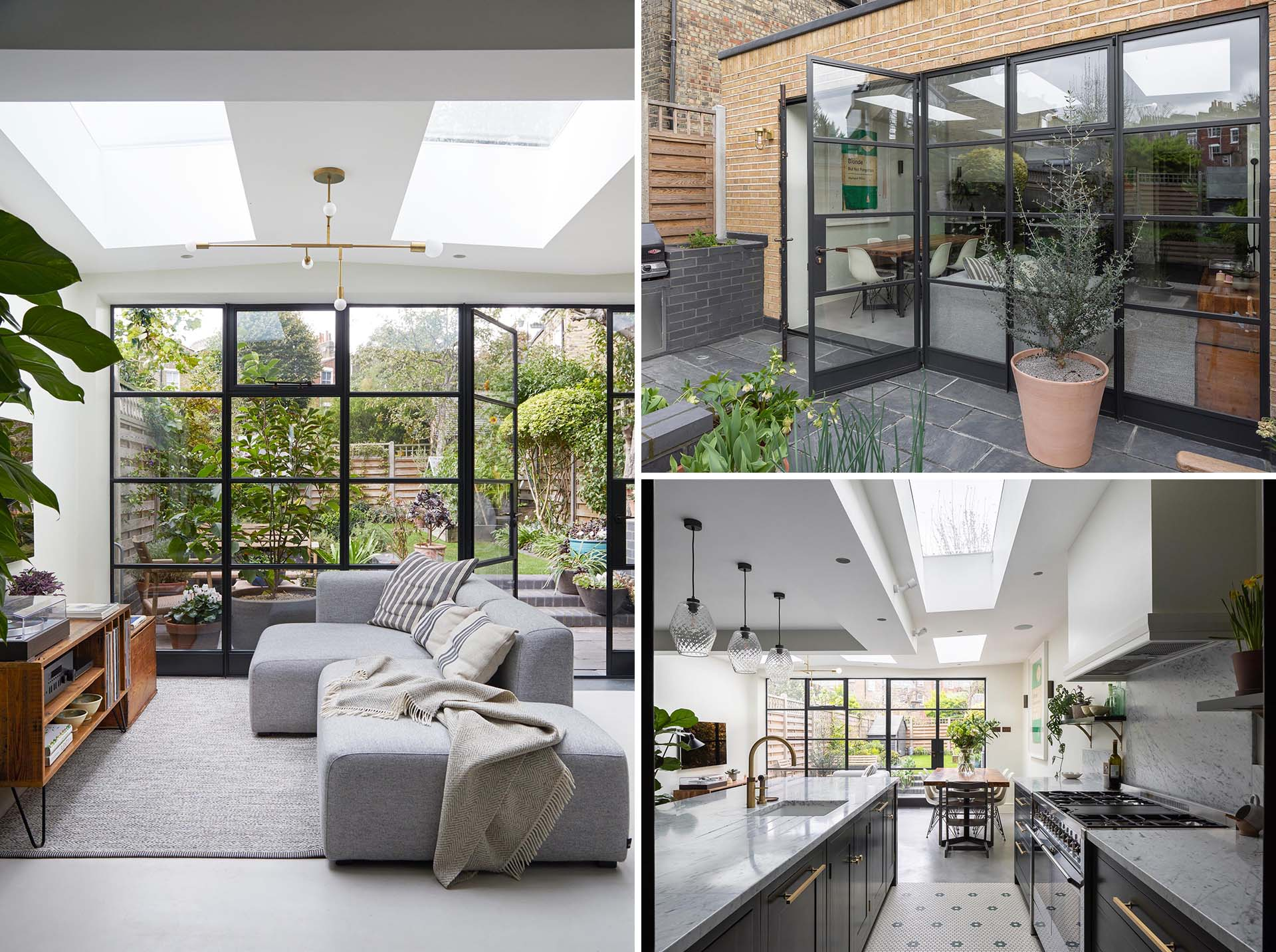 Large Skylights Add Natural Light To This Home Addition That Allowed For A New Living Room, Dining Room, And Kitchen
