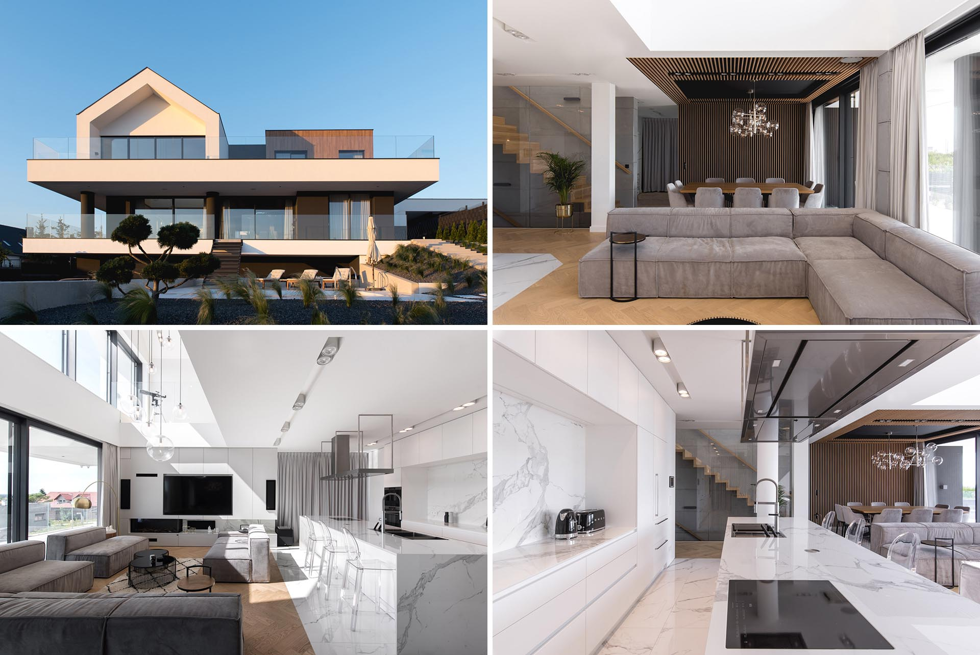 A modern house with a black and white exterior with wood accents, and a modern interior.