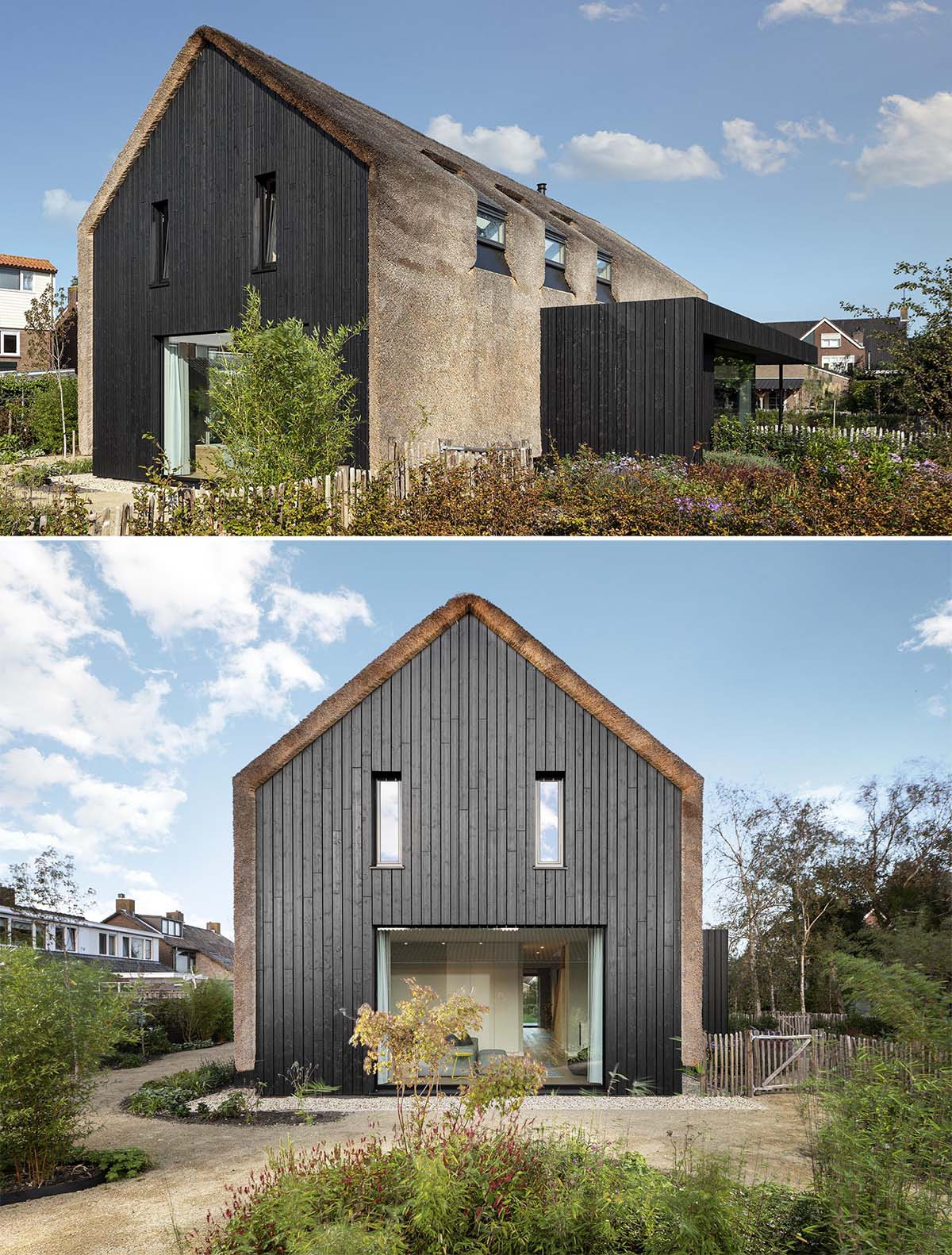 The exterior of this modern house is covered in thatch, which runs vertically down from the rooftop and along the sides of the house. The thatched roof is contrasted by wood with a black finish.
