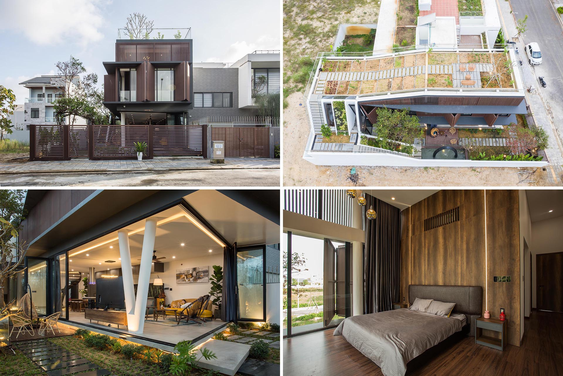A modern home with a rooftop herb and vegetable garden.