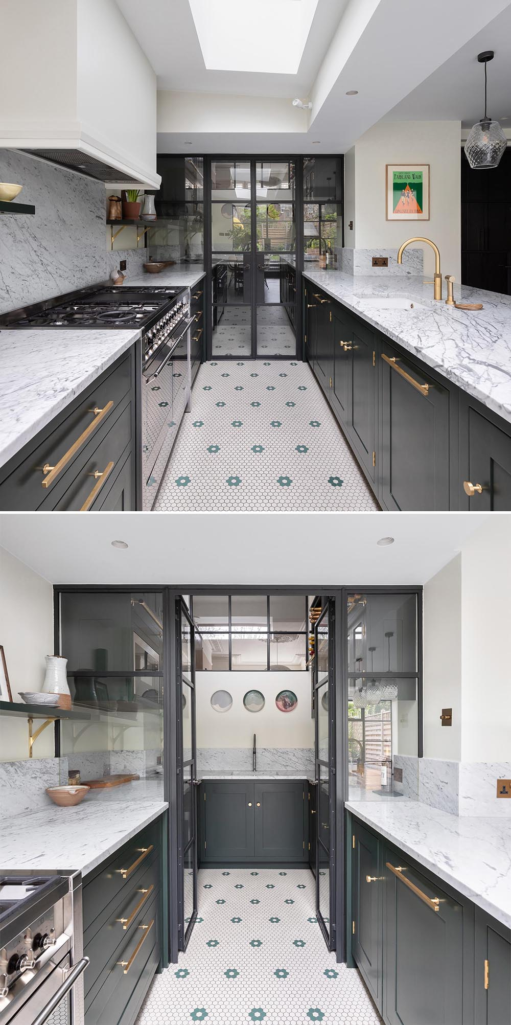 A modern kitchen with dark cabinets and gray marble countertops that continue through to a walk-in pantry behind a glass wall.