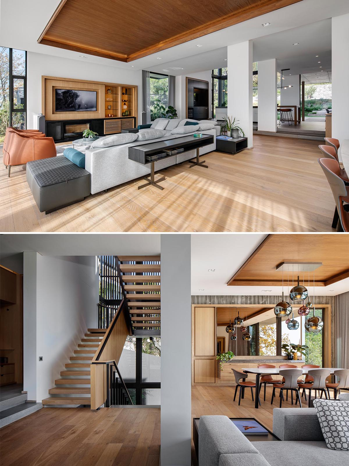 The open plan interior  of this modern home includes a spacious living room and dining room, while a couple of steps leads up to the kitchen.