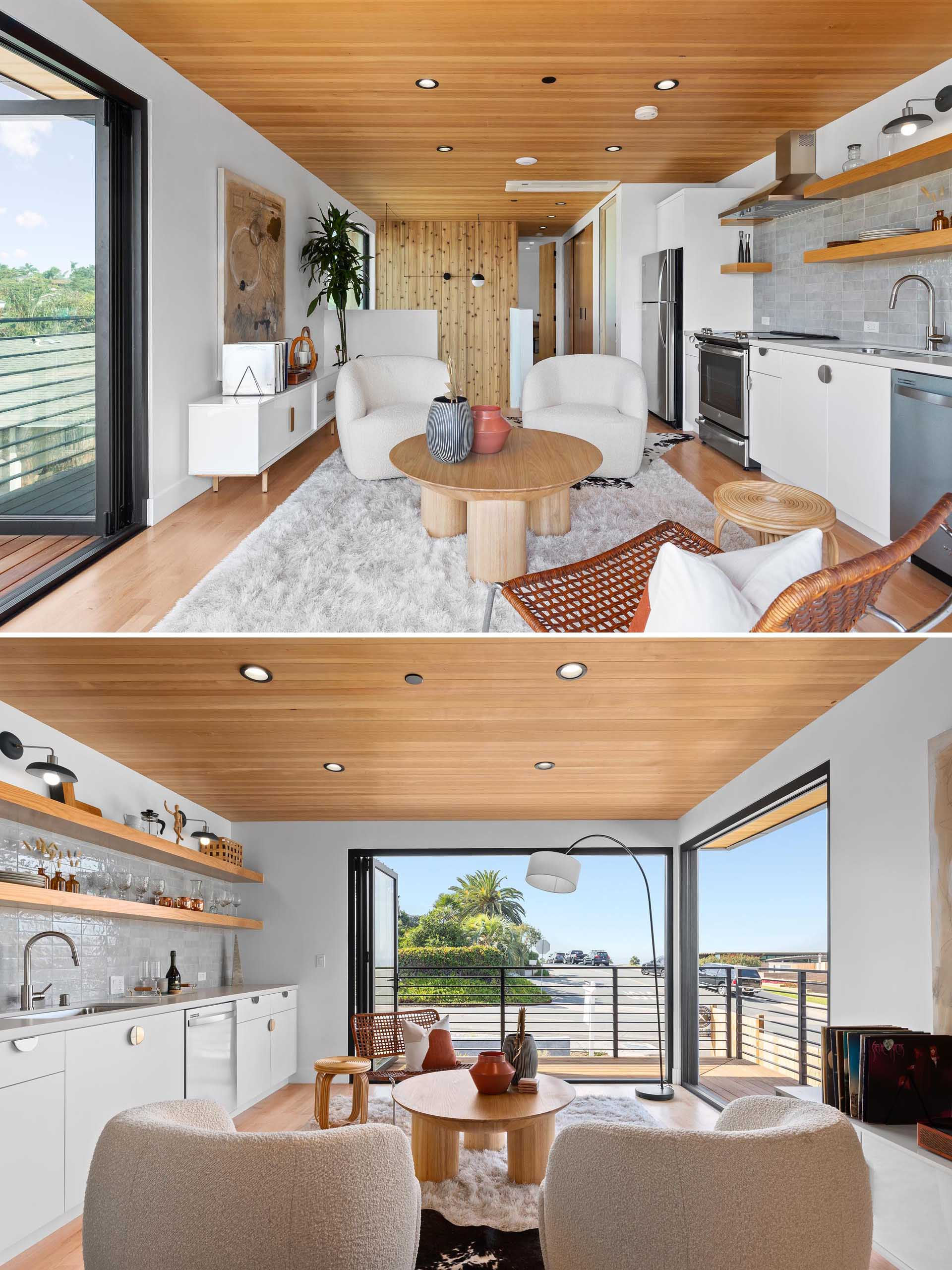 A modern accessory dwelling unit (ADU) with an open plan living room and linear kitchen.