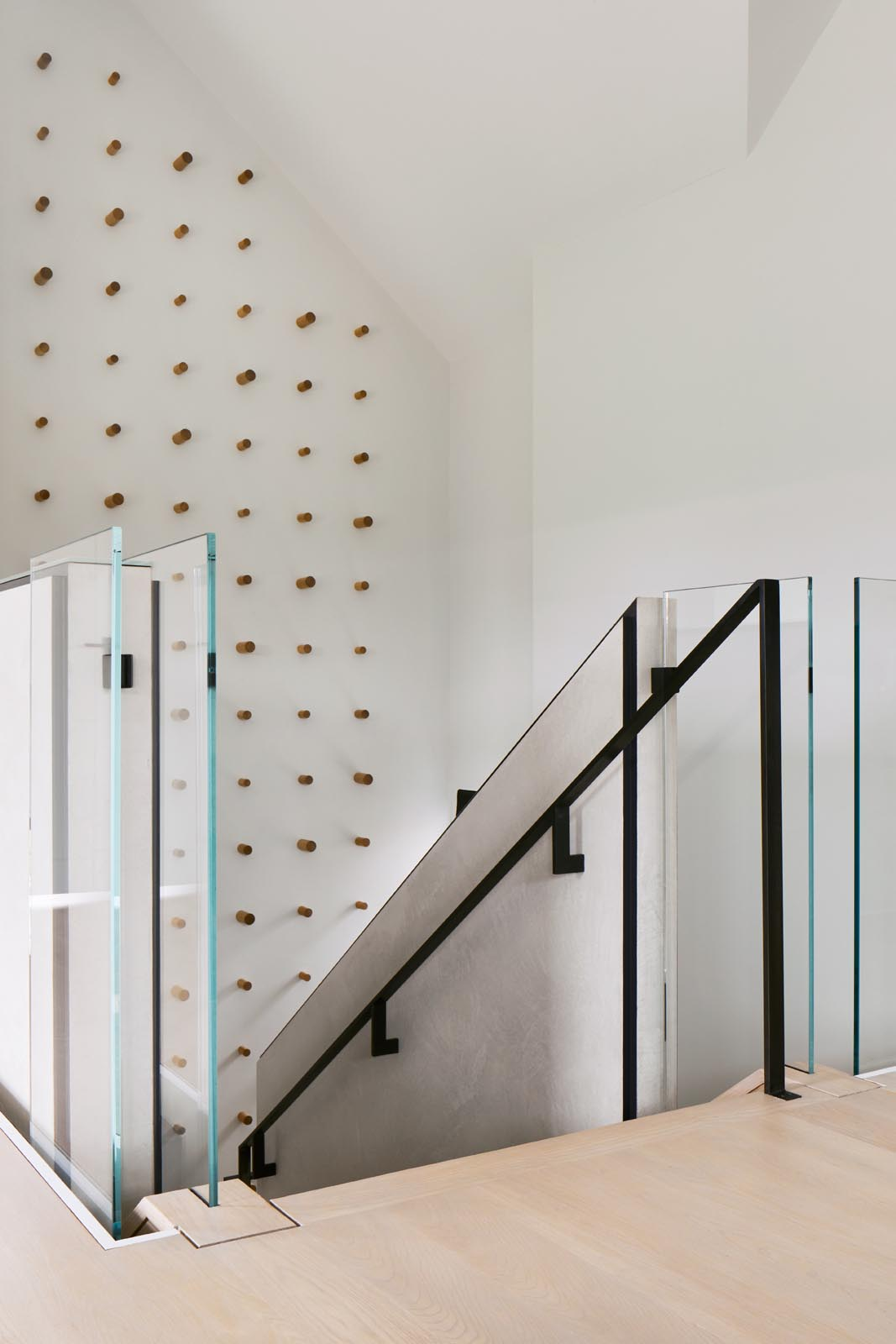 Modern stairs with glass accents.