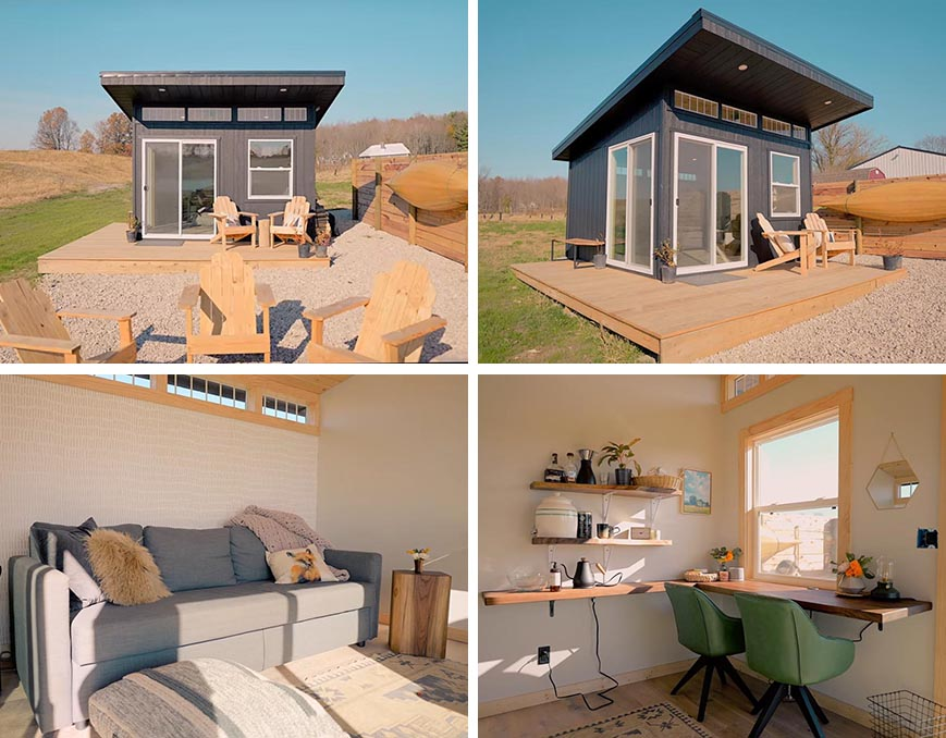 A modern 144 square foot (13 sqm) tiny house that can double as a home office or guest suite.