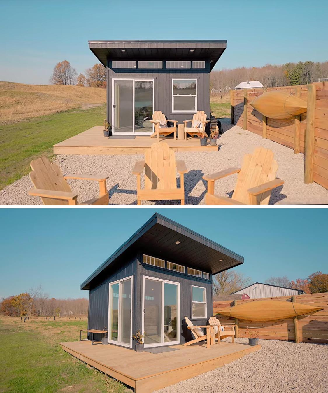 The exterior of this tiny house has a modern design with a sloped roof, wood siding with a black finish, and clerestory windows.