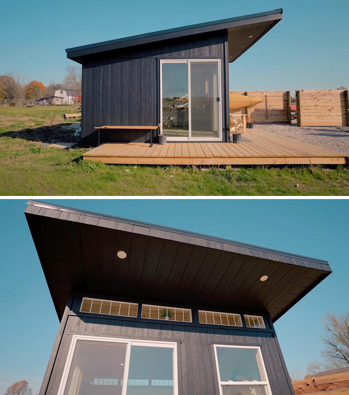 Wrapping around two sides of this modern tiny house is a natural wood deck that's accessible by a pair of sliding glass doors.