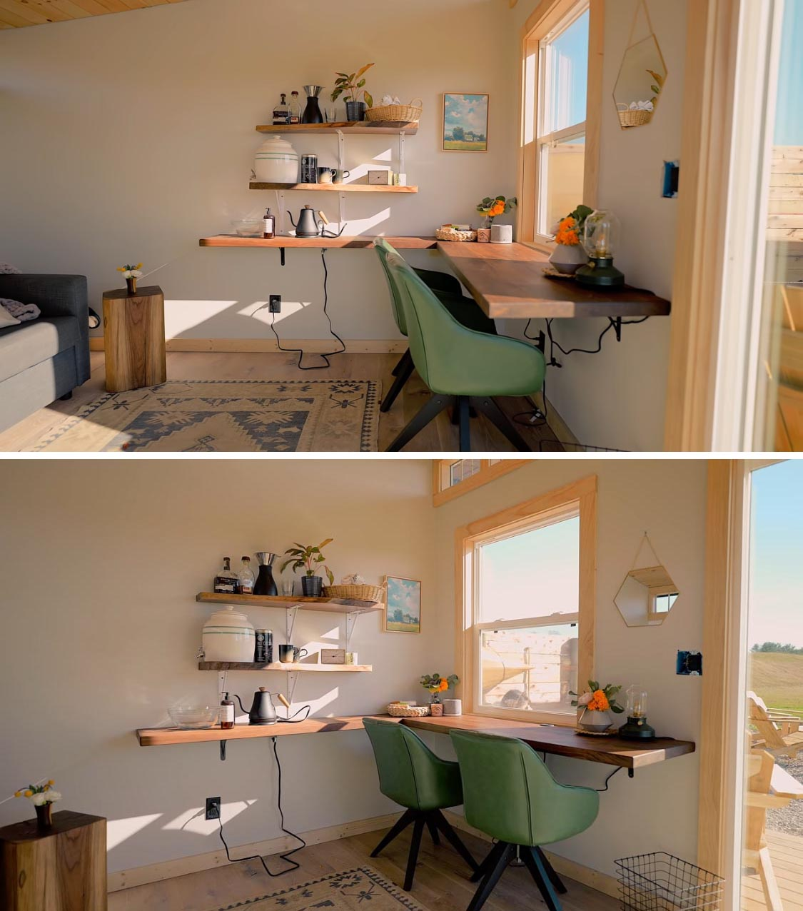 A modern tiny house with a single room, that can be used as a guest suite or home office, and is furnished with a pull-out sofa and a desk.