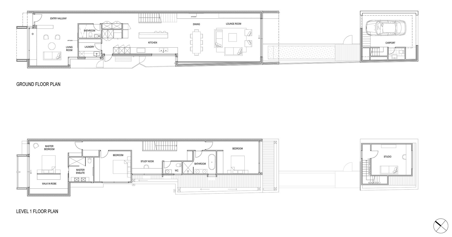 The floor plan of a modern home with two storeys.