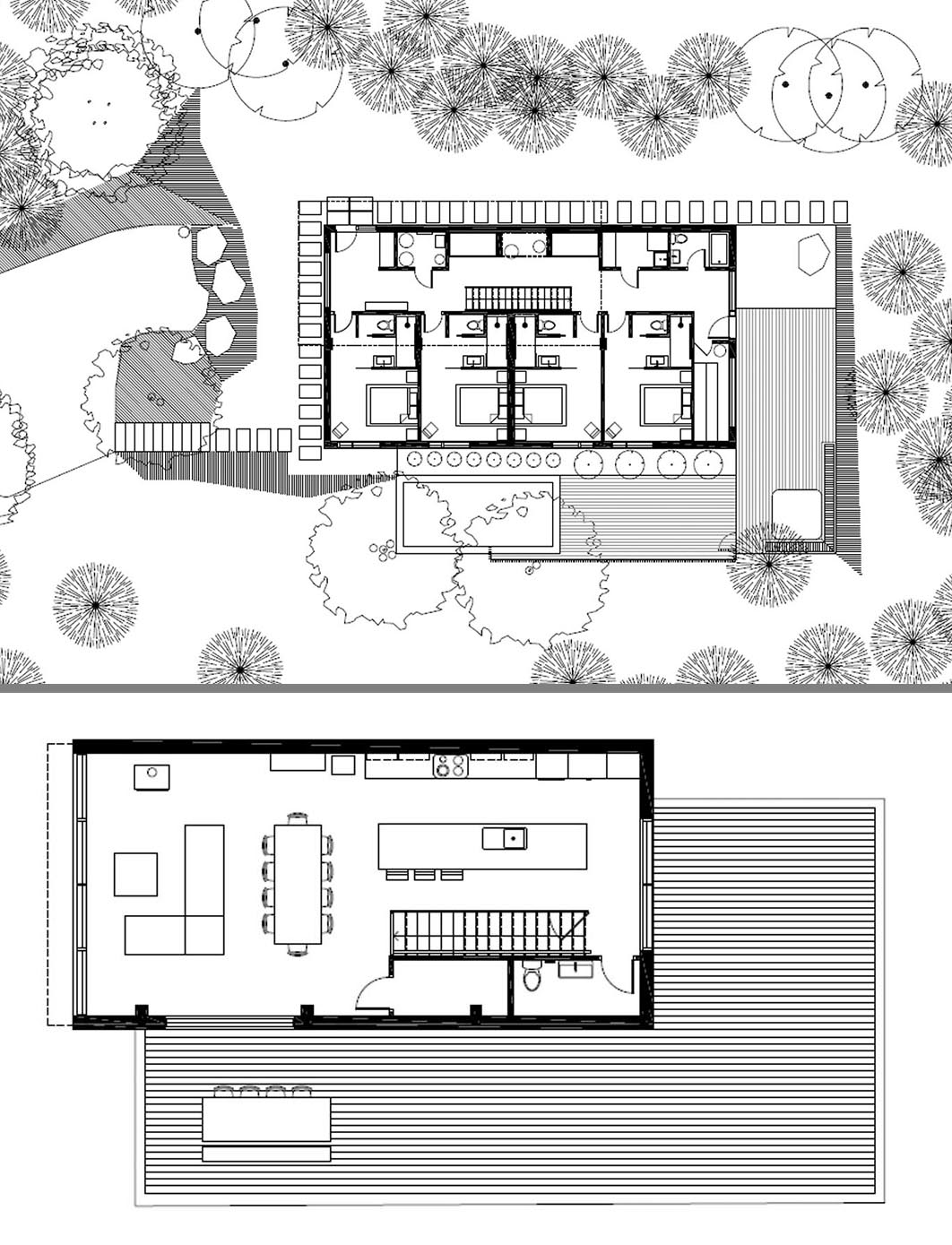 The floor plan of a modern home with the social areas of the house on the upper floor.