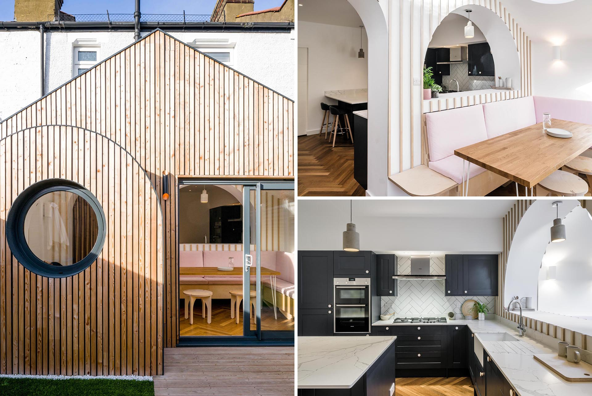 A modern house addition with a wood exterior and an interior with a dining area and kitchen.