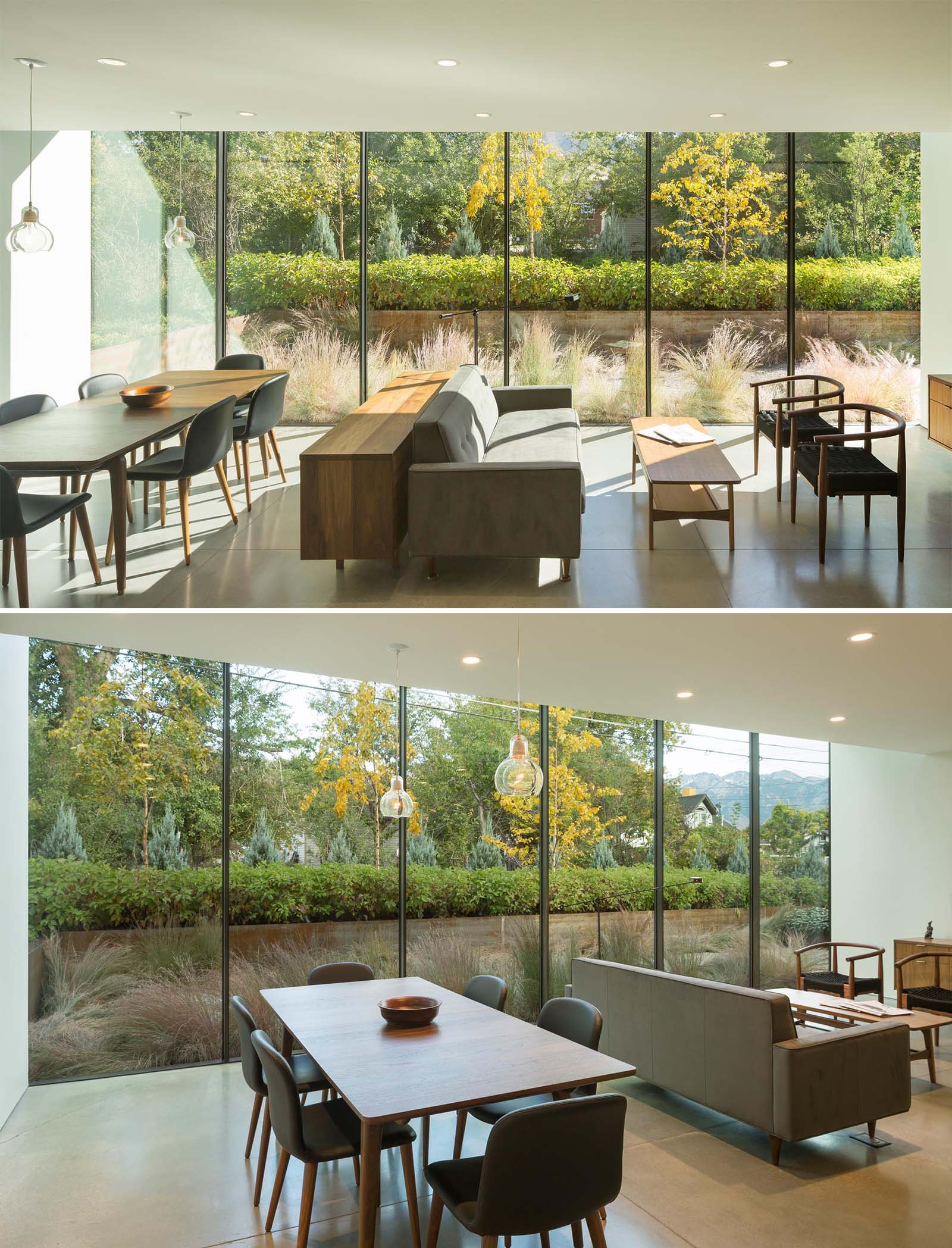 An open plan living room and dining room with a wall of windows.